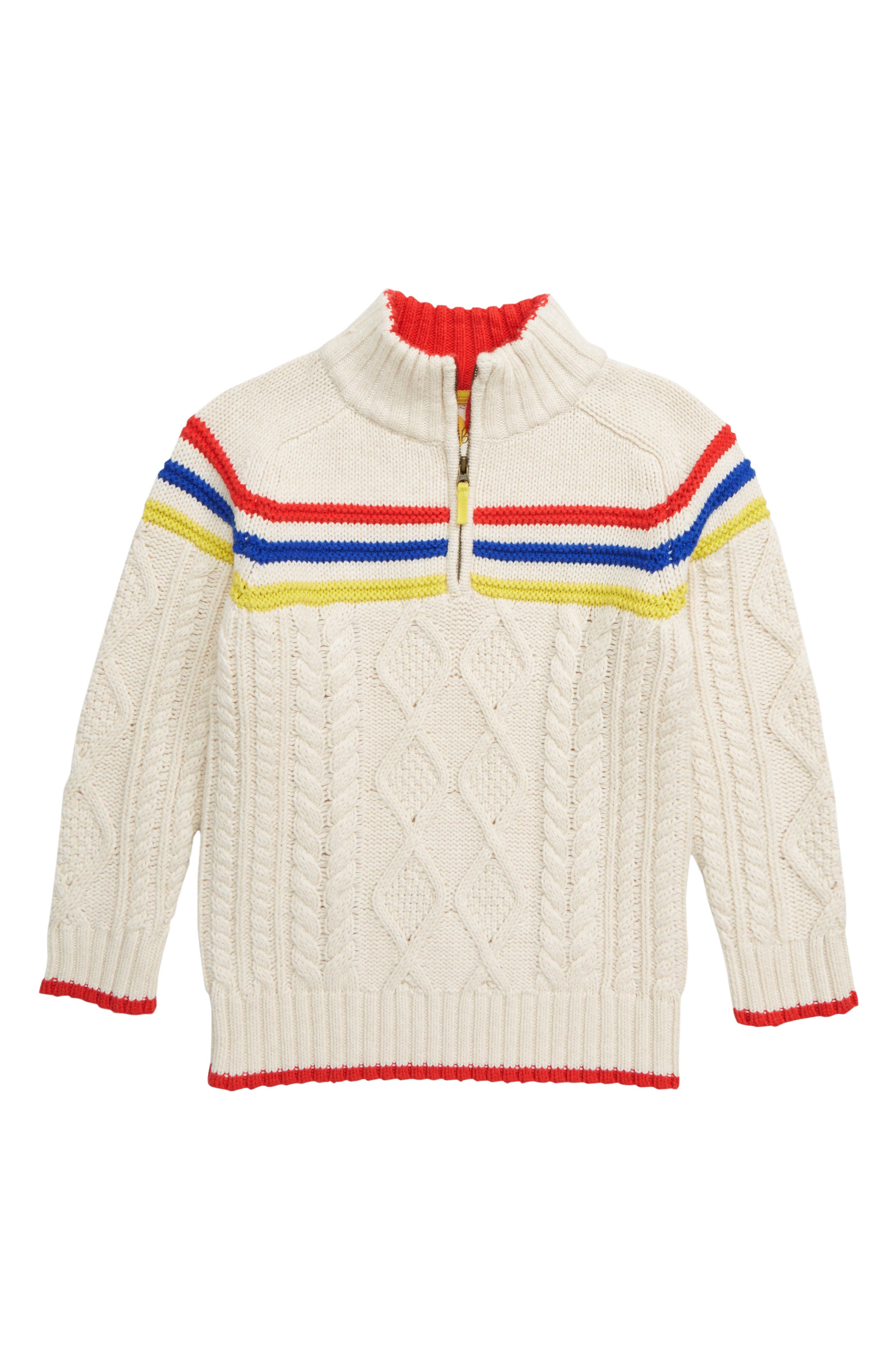 Boys Mini Boden Half Zip Pullover Size 1112Y  Ivory