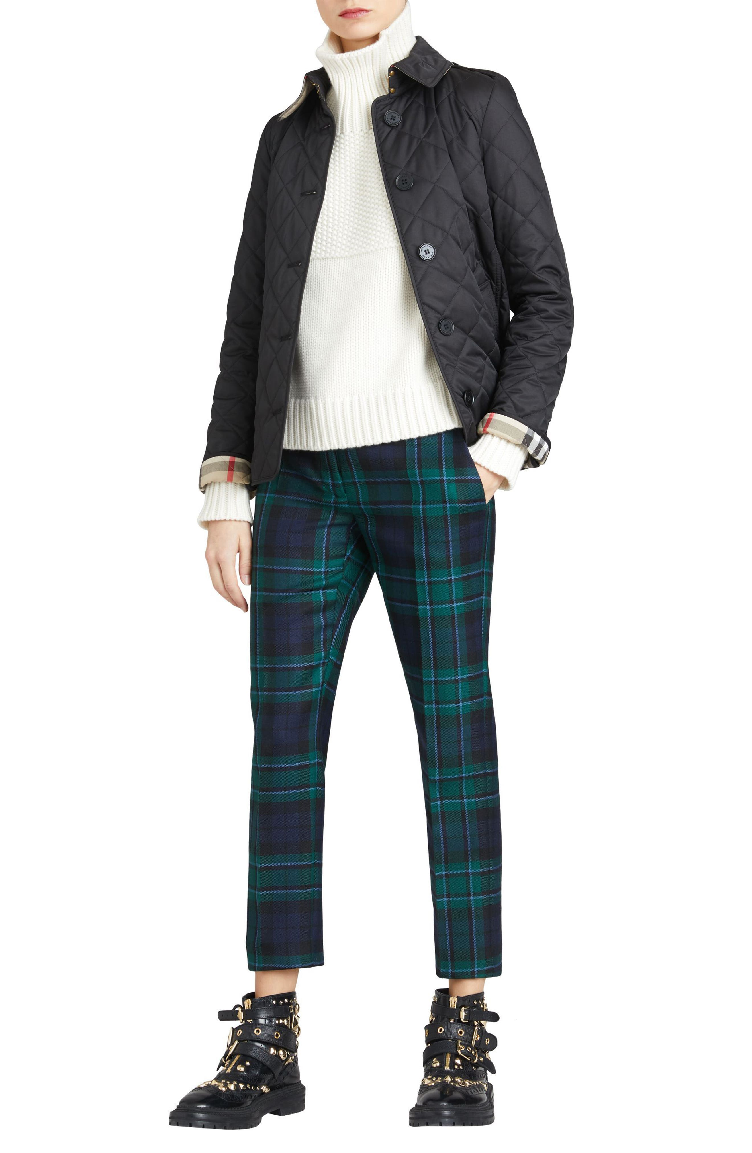 BURBERRY, Frankby Quilted Jacket, Alternate thumbnail 8, color, 001