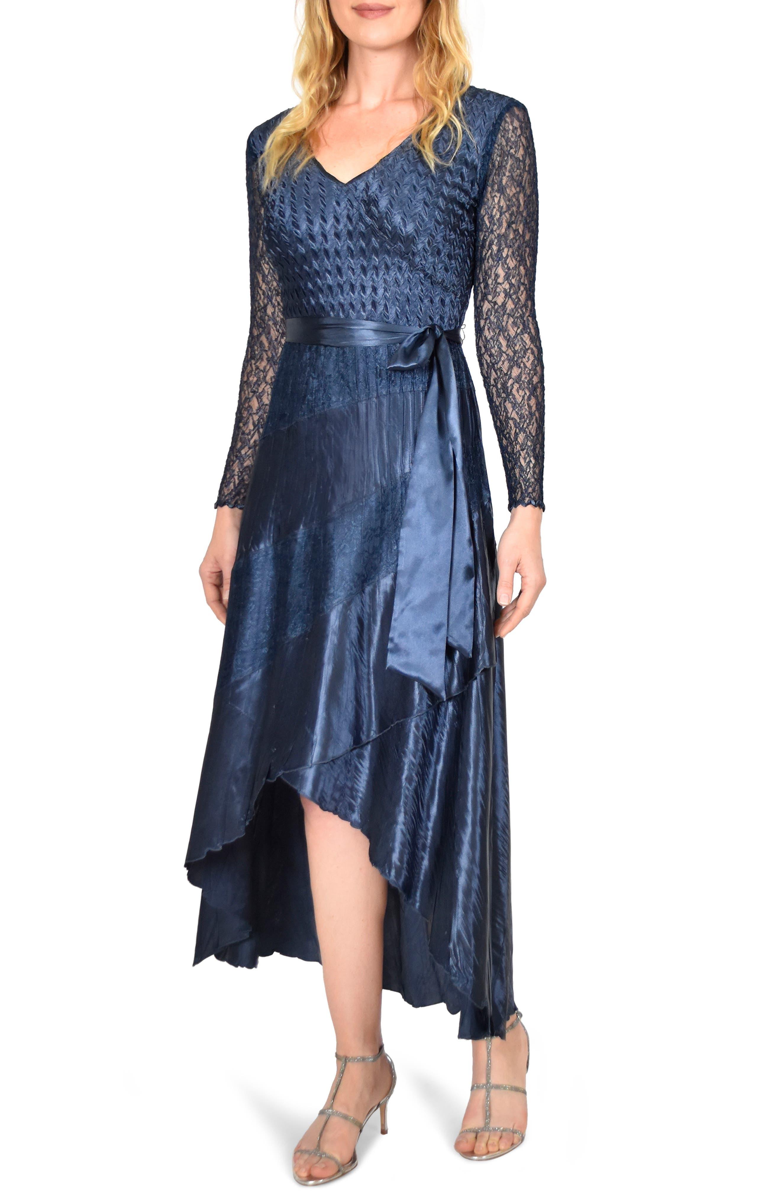 KOMAROV, Charmeuse & Chiffon High/Low Hem Dress, Main thumbnail 1, color, ECLIPSE
