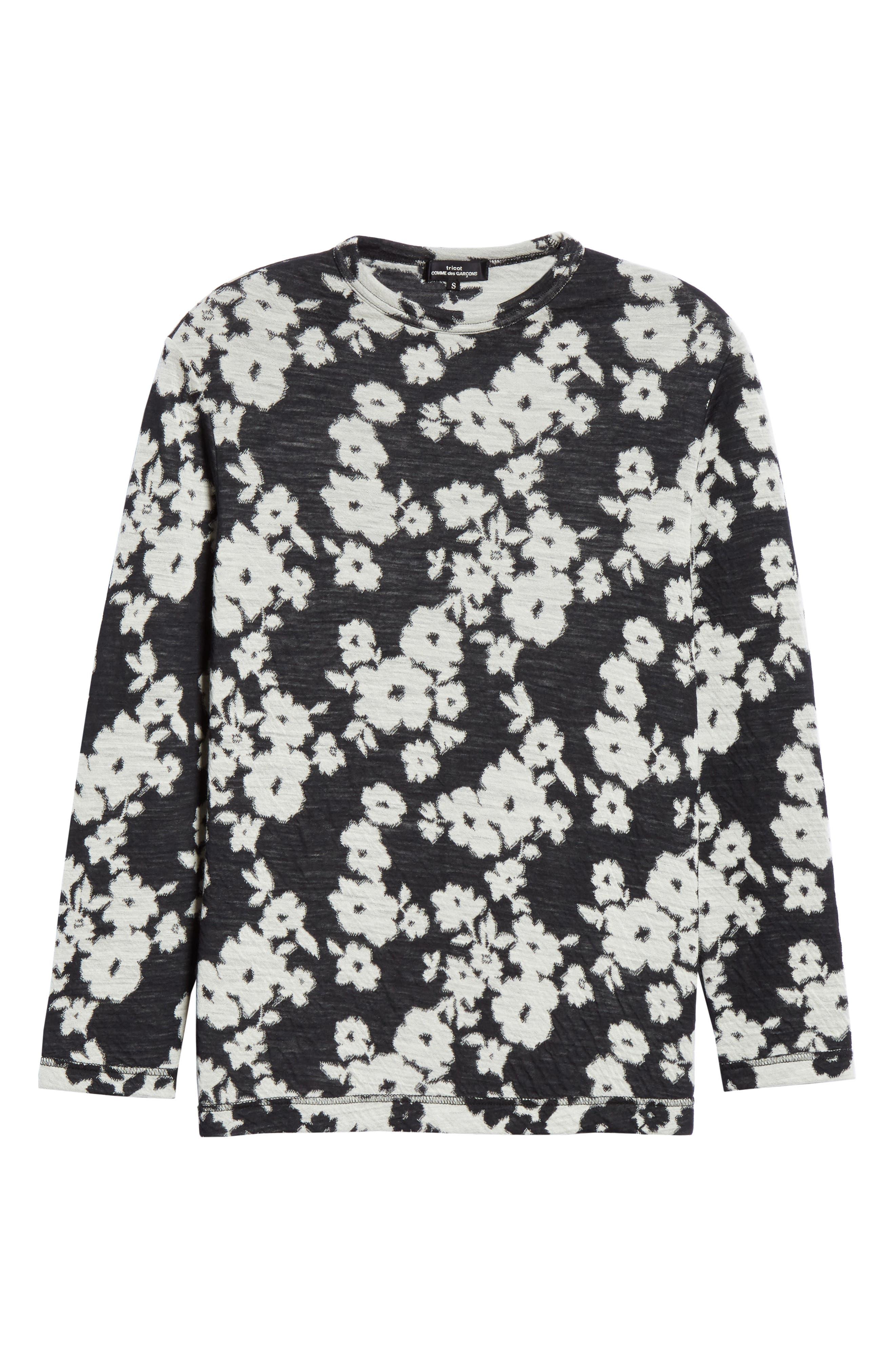TRICOT COMME DES GARÇONS, Floral Jacquard Top, Alternate thumbnail 7, color, BLACK/ OFF WHITE