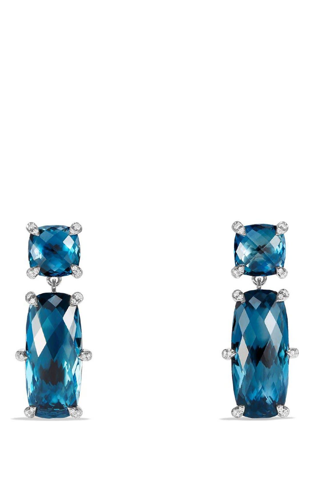 DAVID YURMAN 'Châtelaine' Double Drop Earrings, Main, color, SILVER/ HAMPTON BLUE TOPAZ