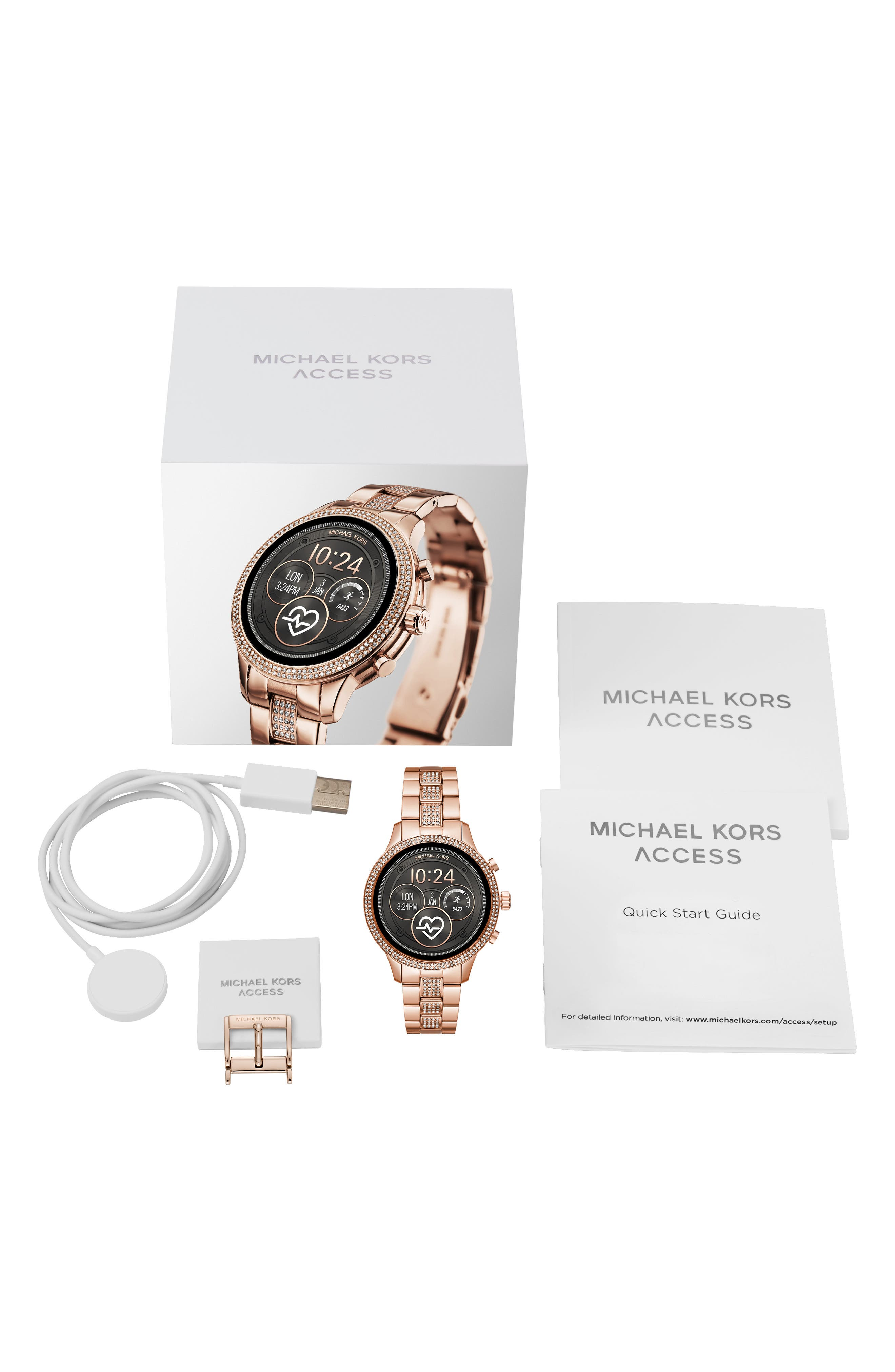 MICHAEL KORS, MICHAEL Michael Kors Access Runway Smart Bracelet Watch, 41mm, Alternate thumbnail 4, color, ROSE GOLD