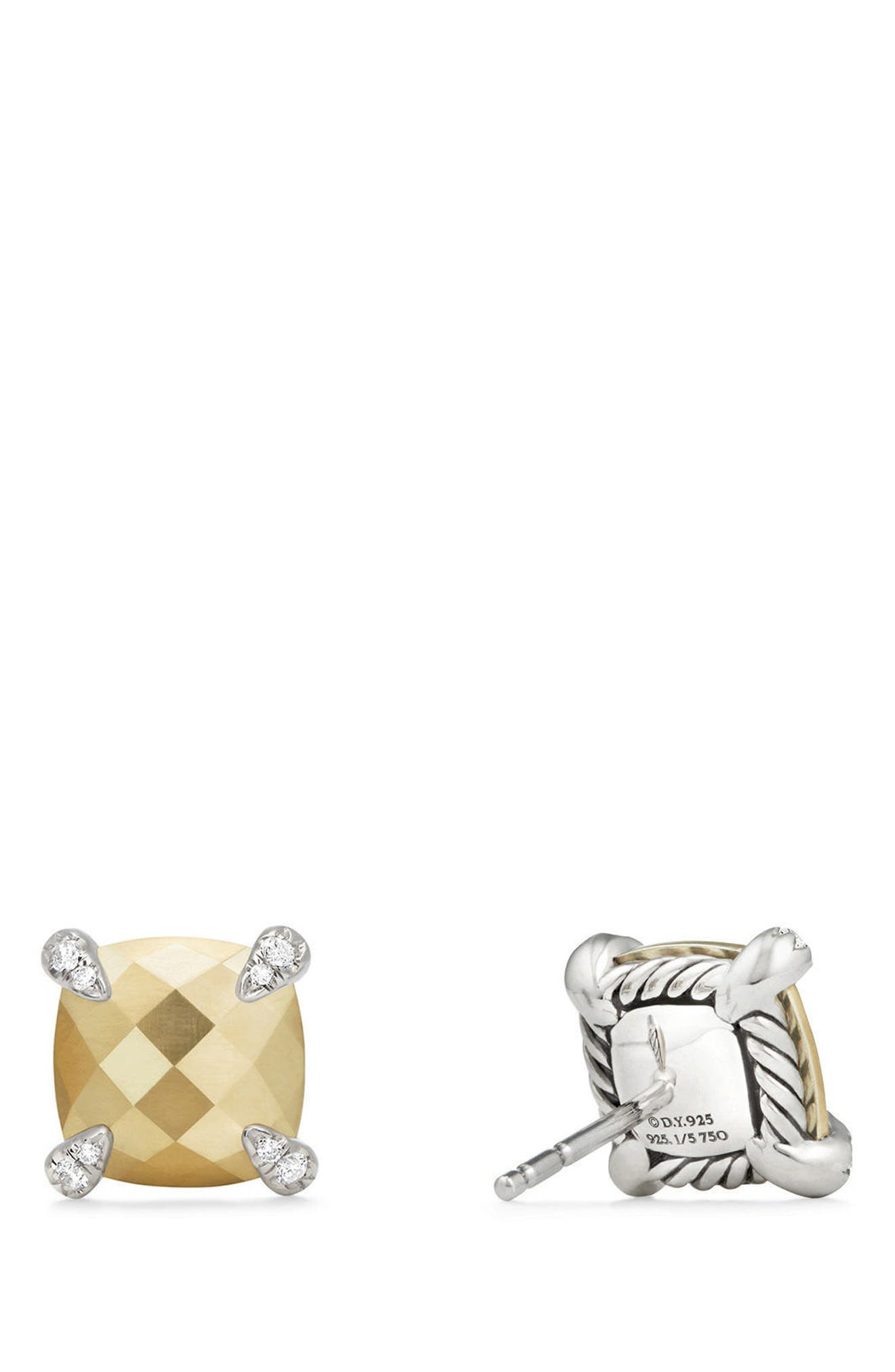DAVID YURMAN, Châtelaine Earrings with Diamonds, Main thumbnail 1, color, GOLD DOME?
