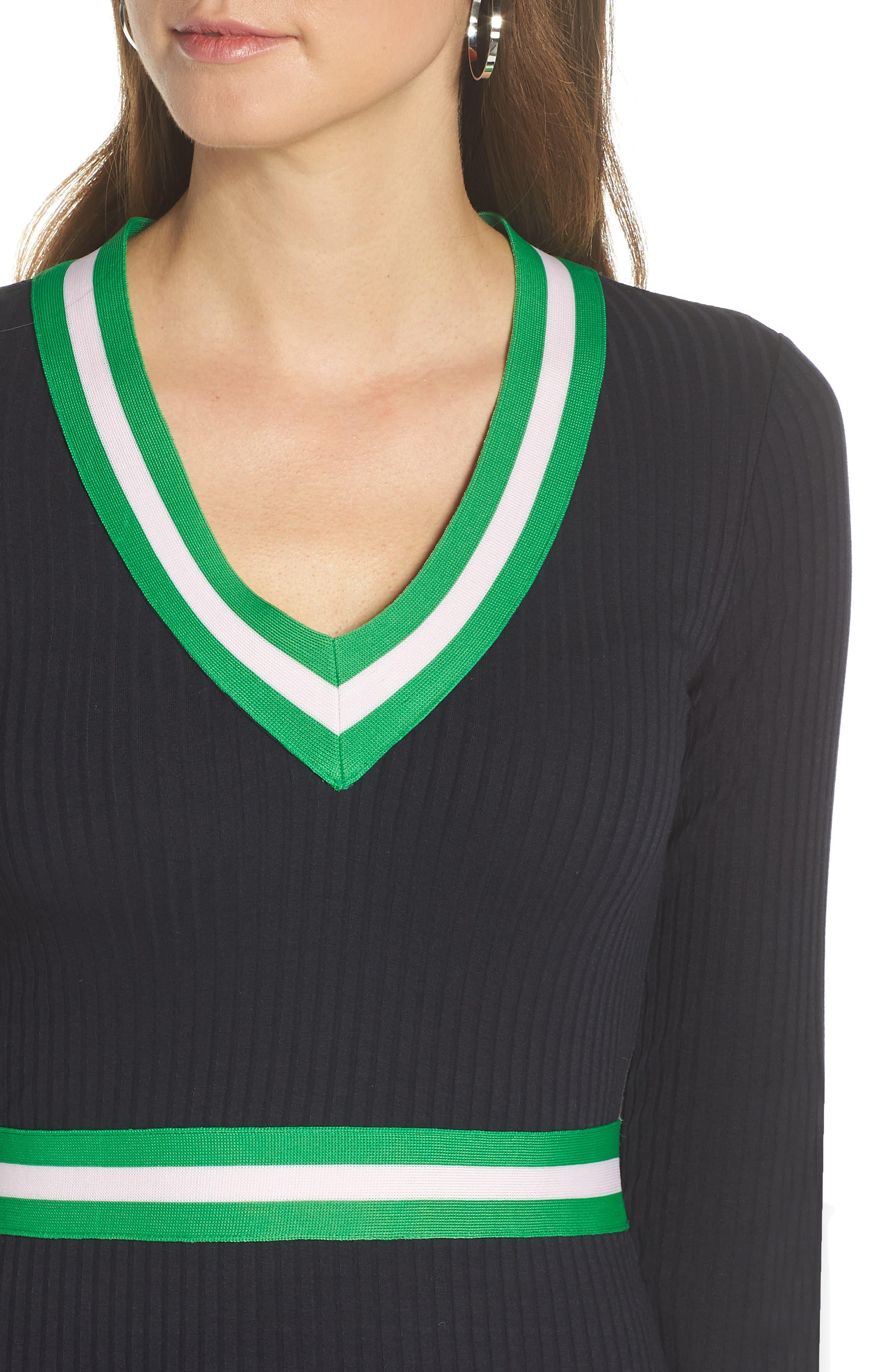 1901, Stripe Trim Sweater Dress, Alternate thumbnail 5, color, 410