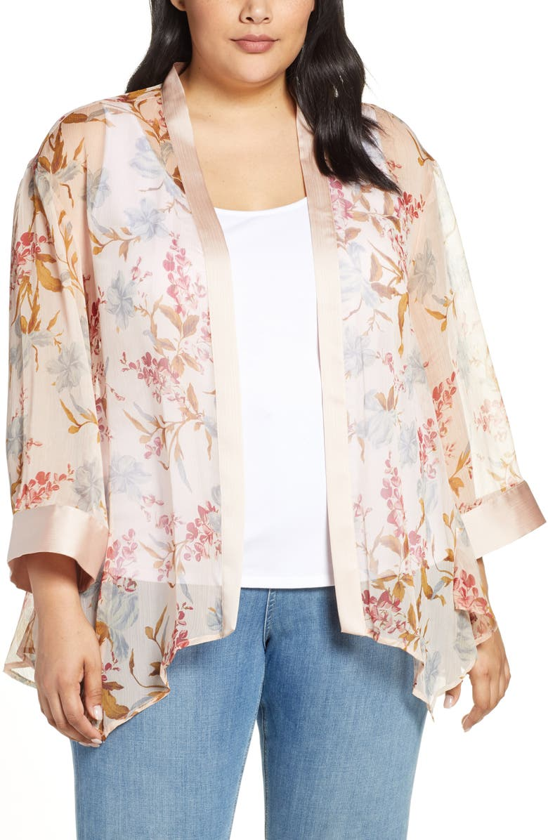 Vince Camuto Cardigans Graceful Wildflower Sheer Topper