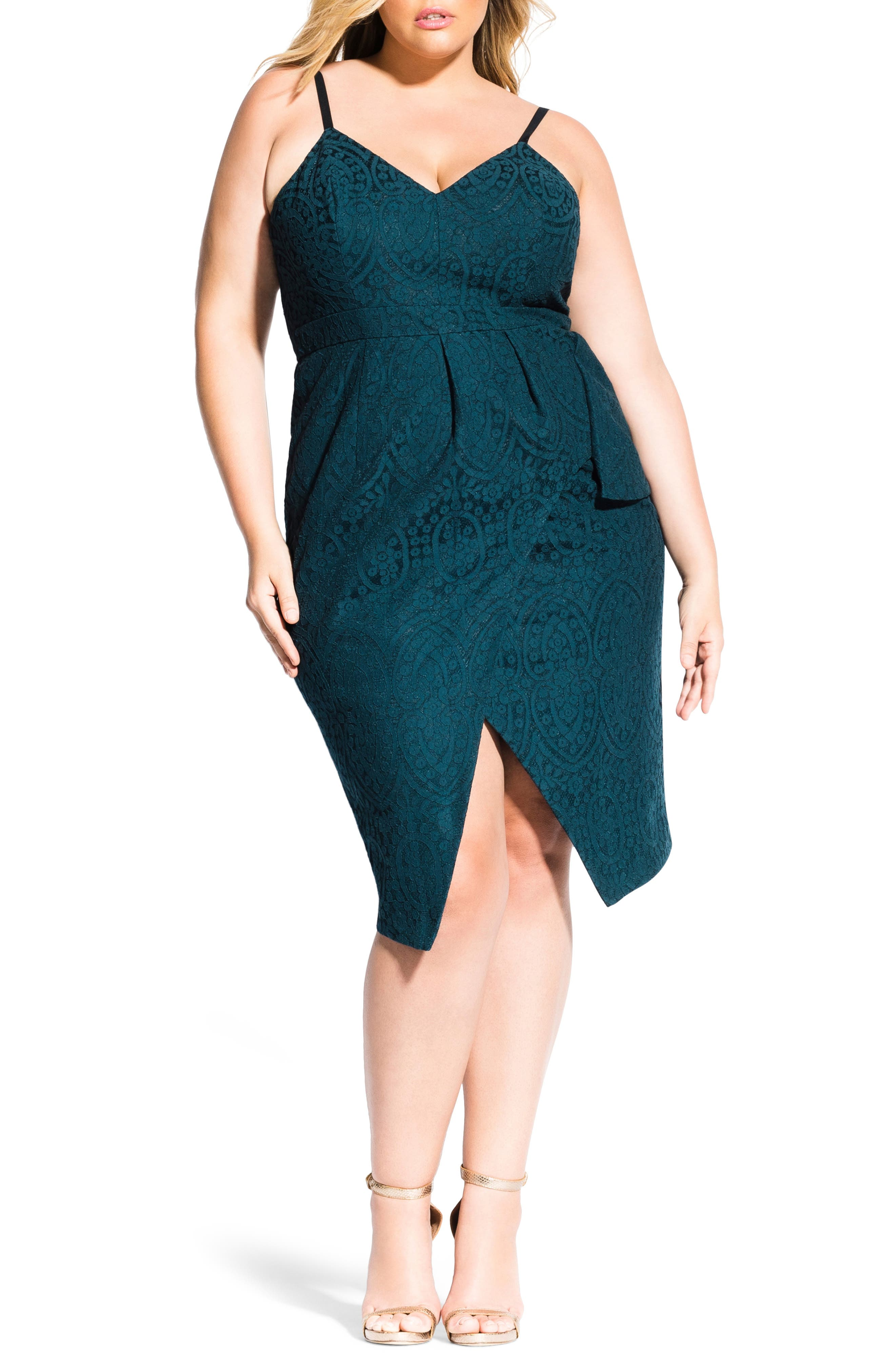 Plus Size City Chic Amare Lace Dress, Green
