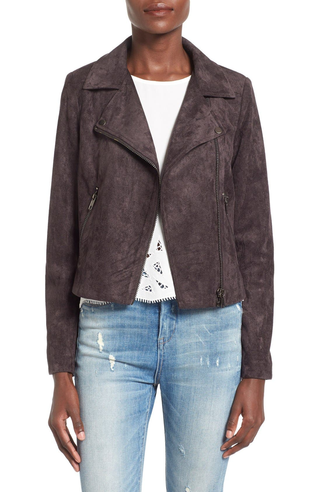 ASTR THE LABEL, ASTR Faux Suede Moto Jacket, Main thumbnail 1, color, 020