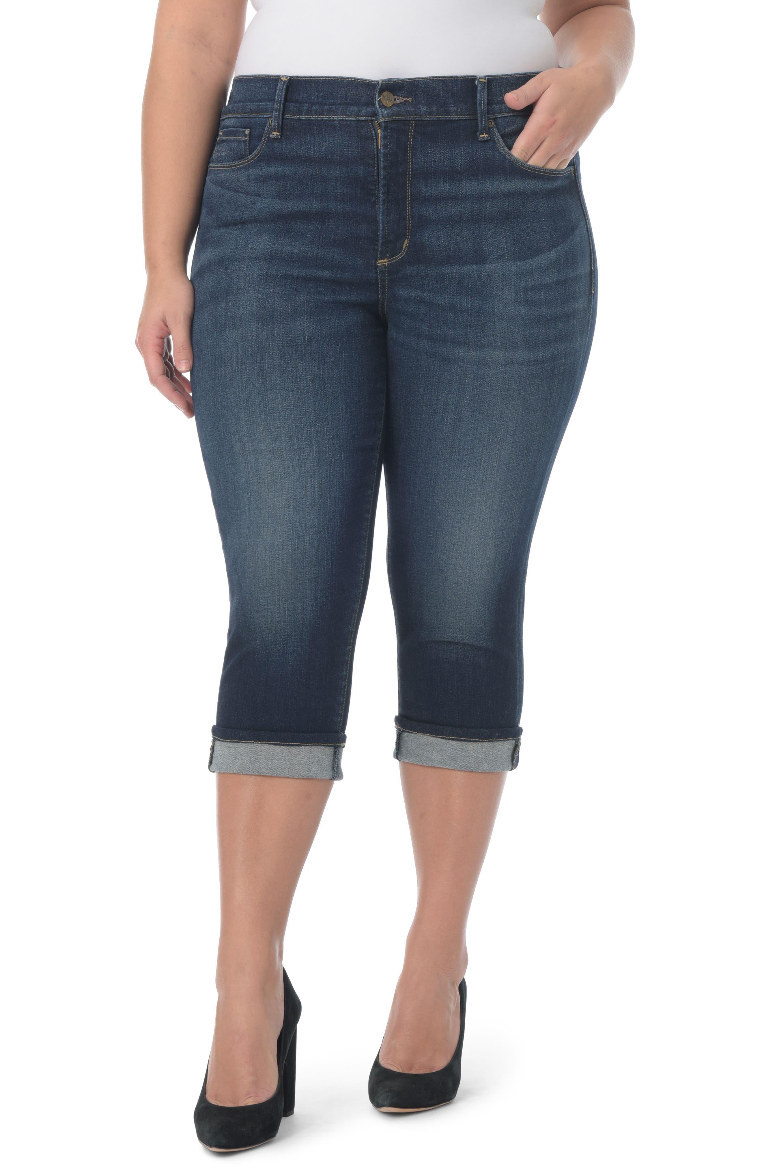 NYDJ, Marilyn Crop Cuff Jeans, Main thumbnail 1, color, BEZEL