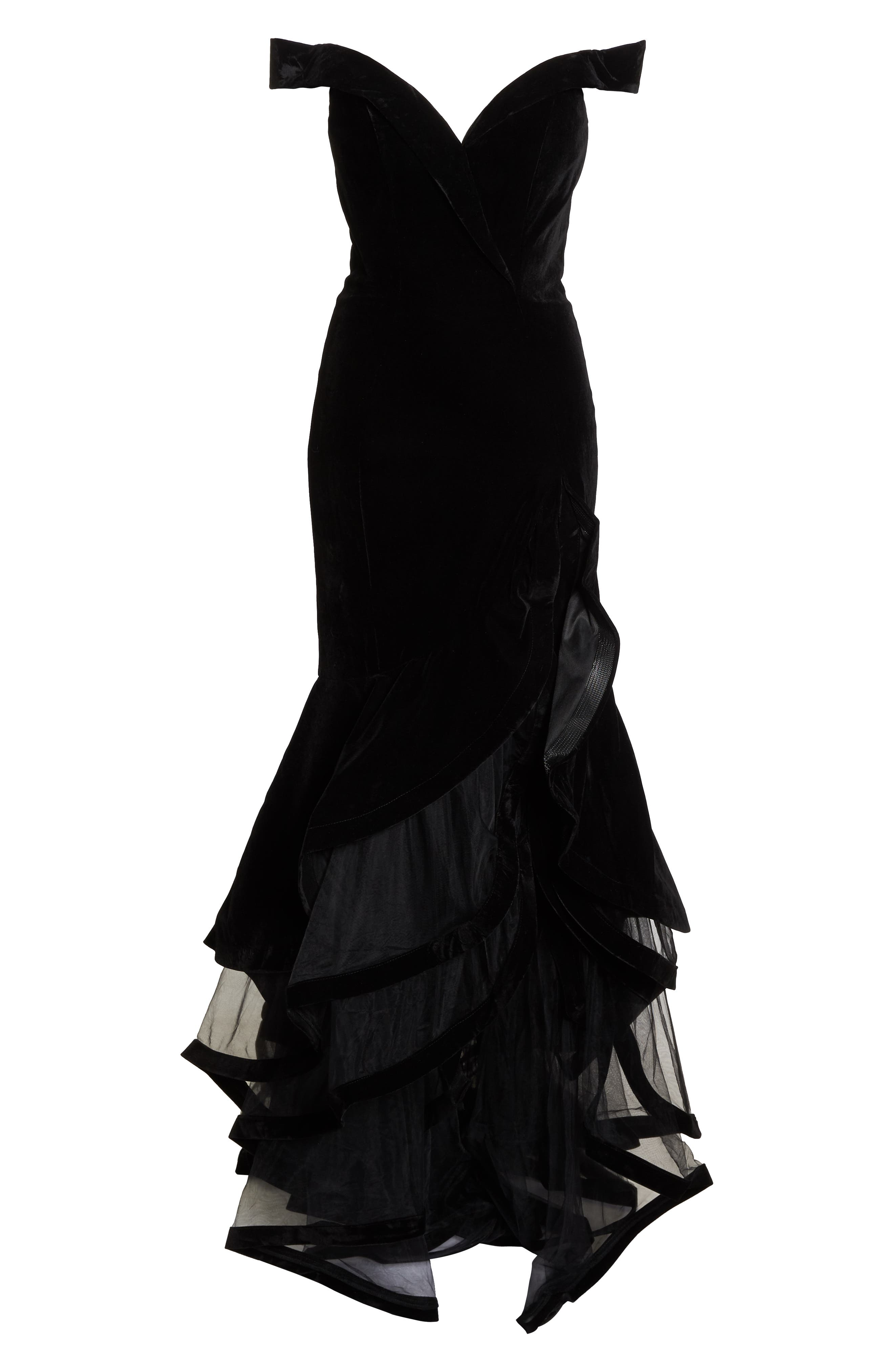MAC DUGGAL, Off the Shoulder Tiered Ballgown, Alternate thumbnail 7, color, BLACK