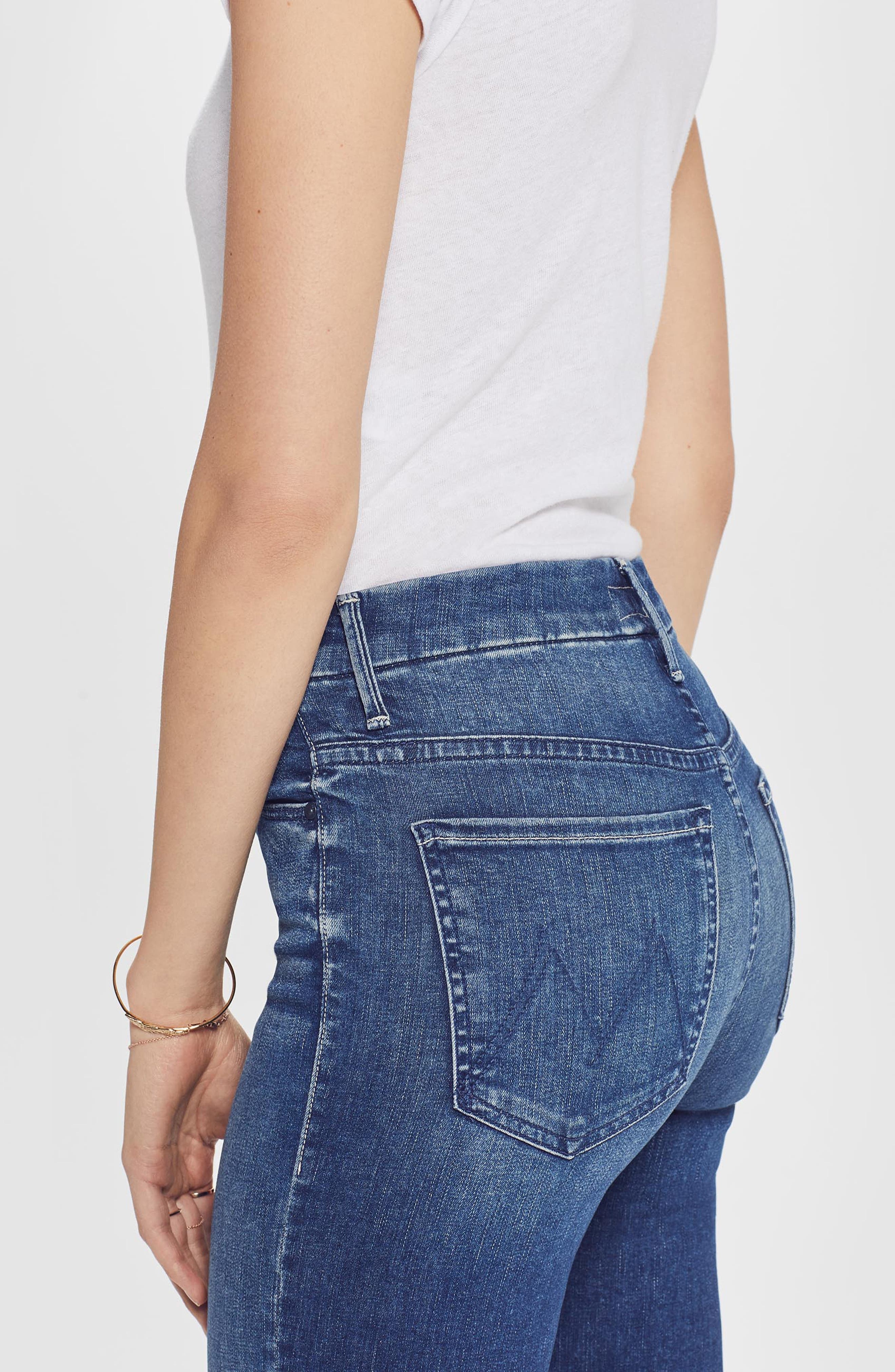 MOTHER, The Looker High Waist Frayed Ankle Skinny Jeans, Alternate thumbnail 5, color, LURE ME IN