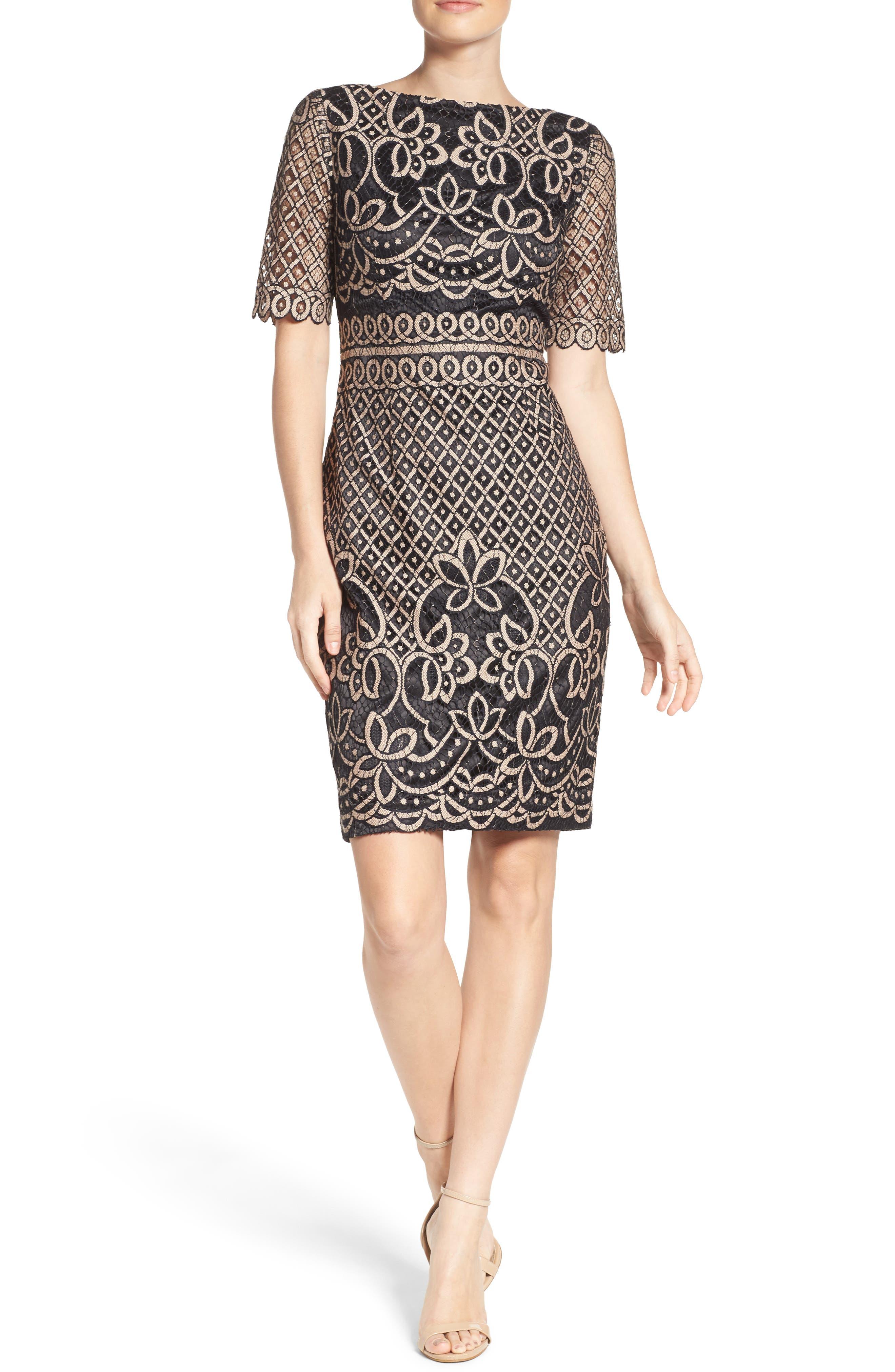 ELIZA J, Lace Sheath Dress, Alternate thumbnail 6, color, 009