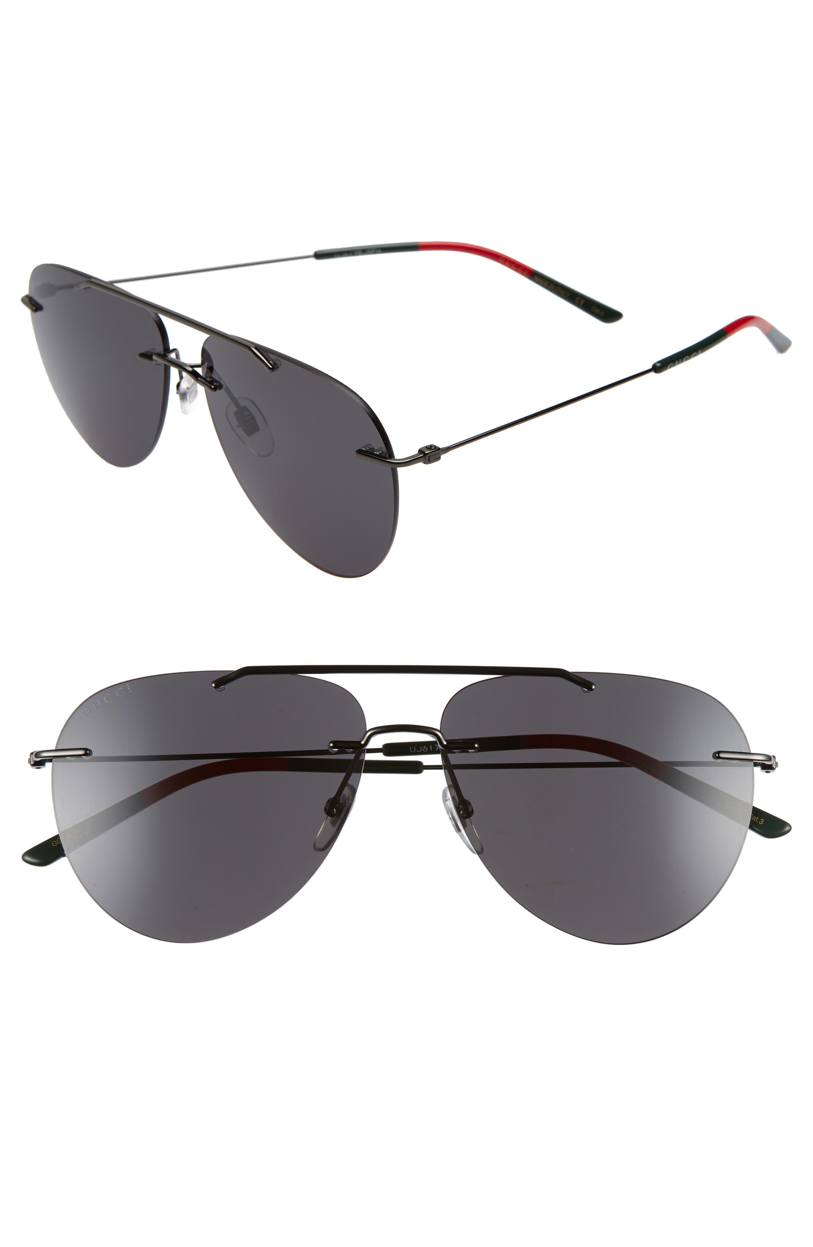 GUCCI 60mm Rimless Aviator Sunglasses, Main, color, RUTHENIUM