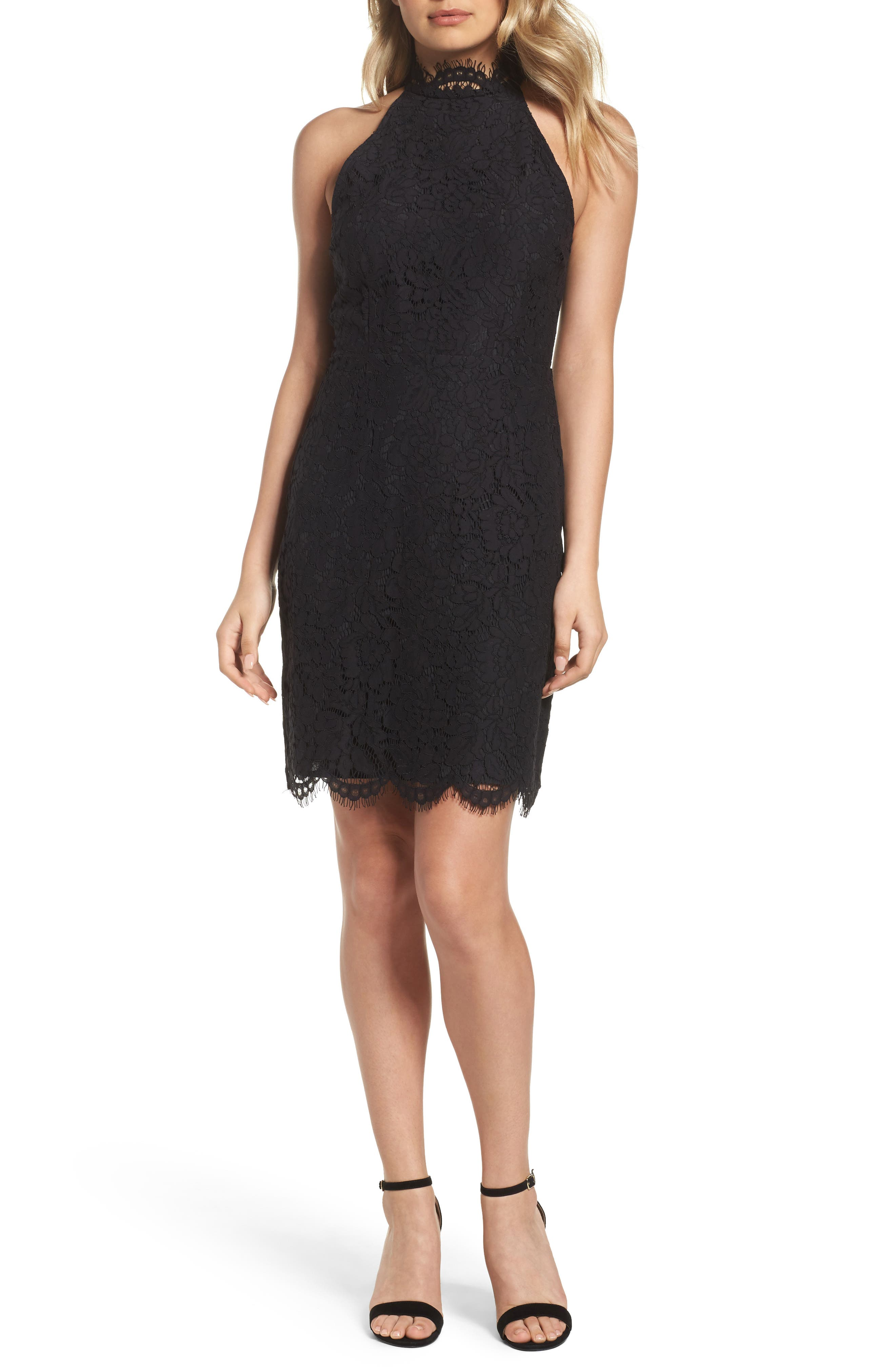 BB DAKOTA, Cara High Neck Lace Cocktail Dress, Main thumbnail 1, color, 001