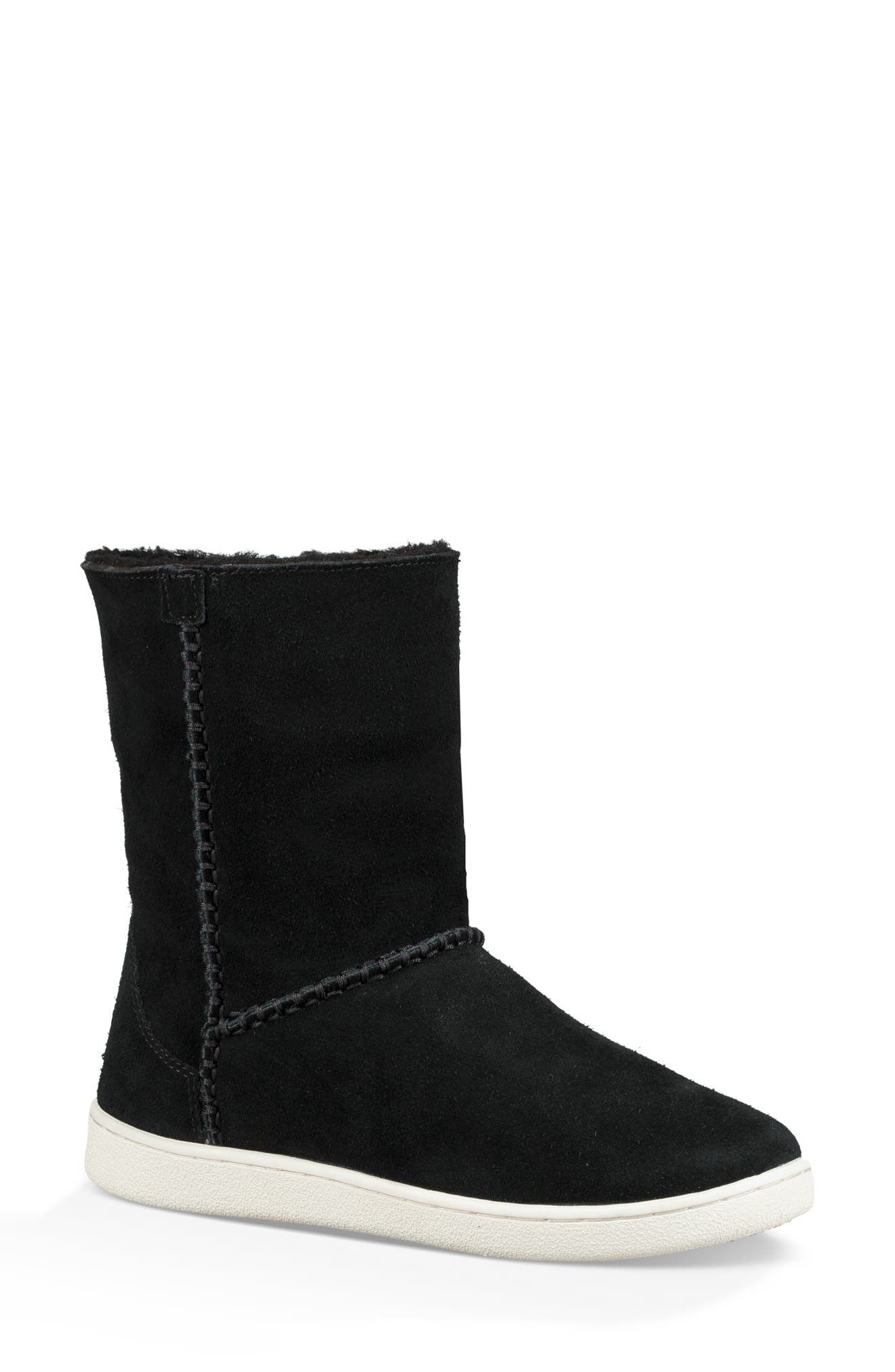 UGG<SUP>®</SUP>, Mika Classic Genuine Shearling Sneaker, Alternate thumbnail 2, color, BLACK