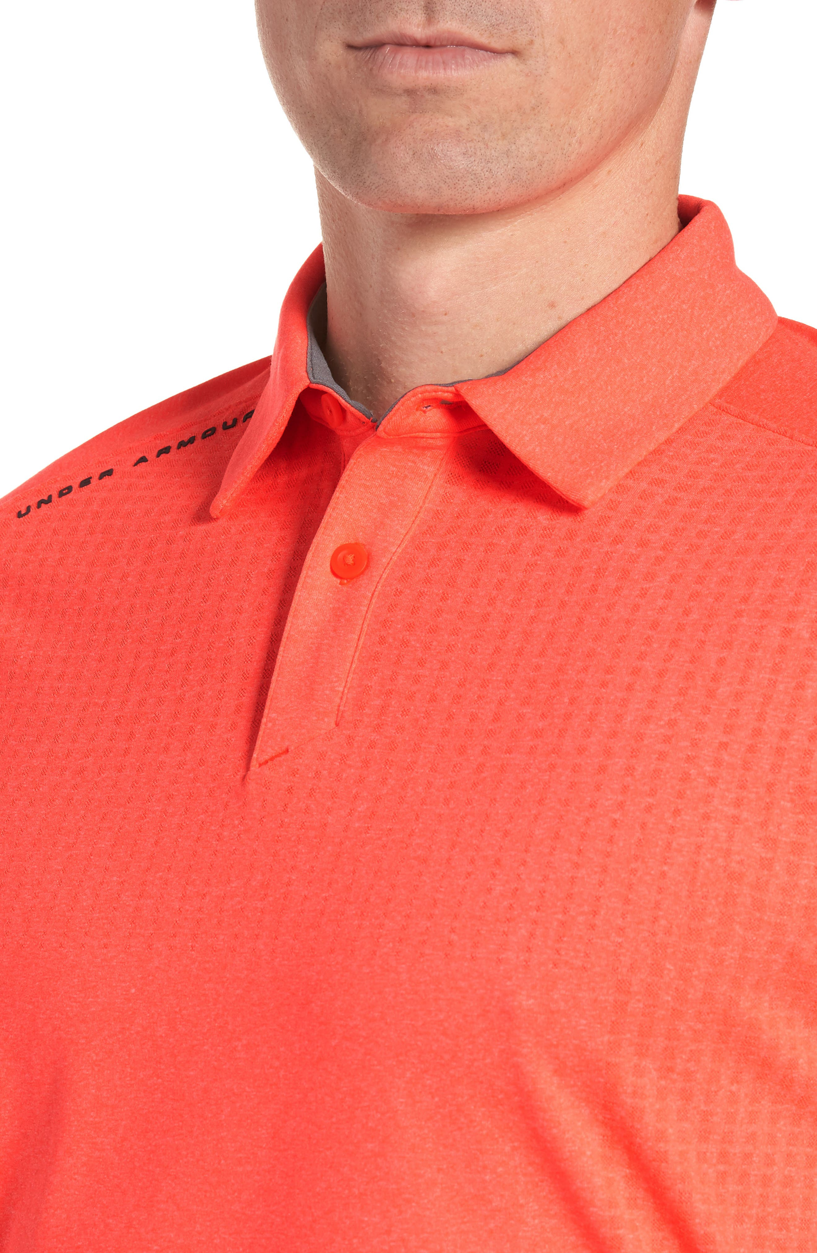 UNDER ARMOUR, Threadborne Outer Glow Regular Fit Polo Shirt, Alternate thumbnail 4, color, NEON CORAL LIGHT/ HEATHER