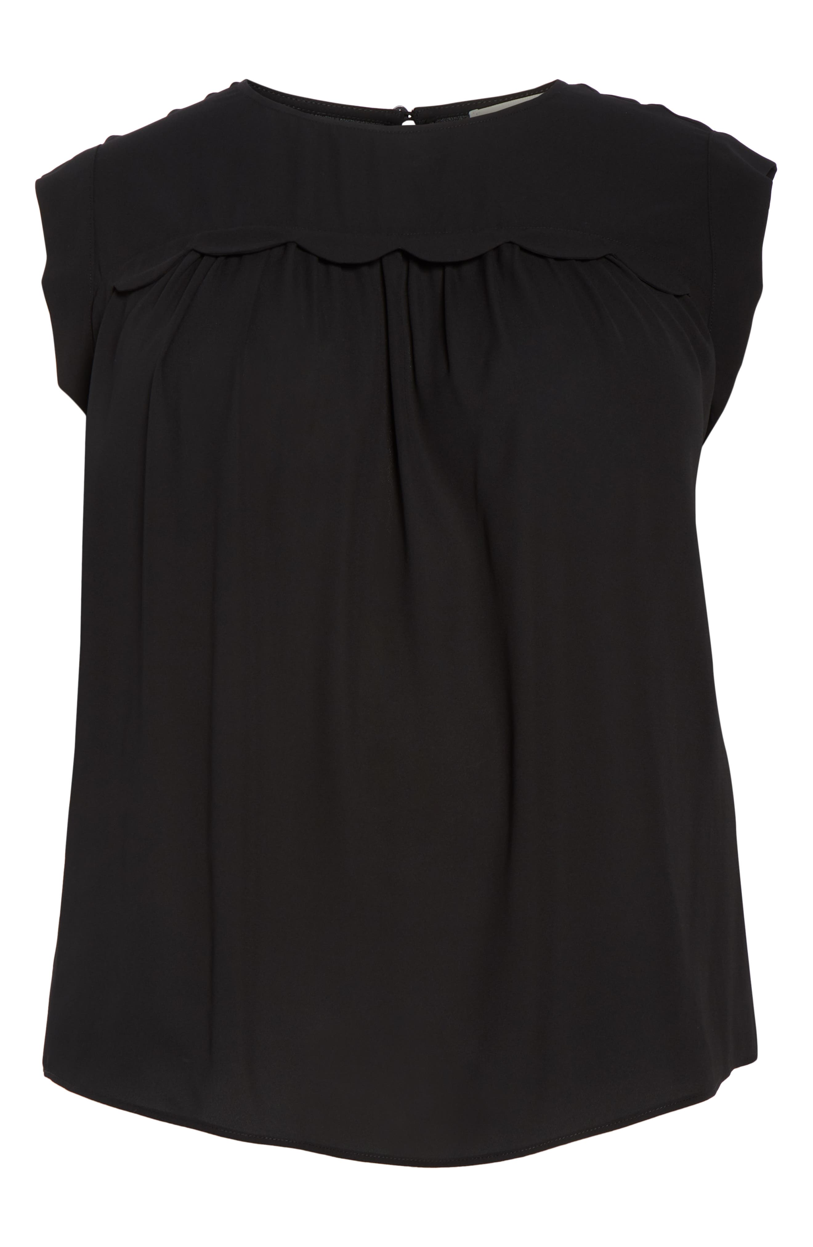 &.LAYERED, Scallop Trim Blouse, Alternate thumbnail 6, color, BLACK