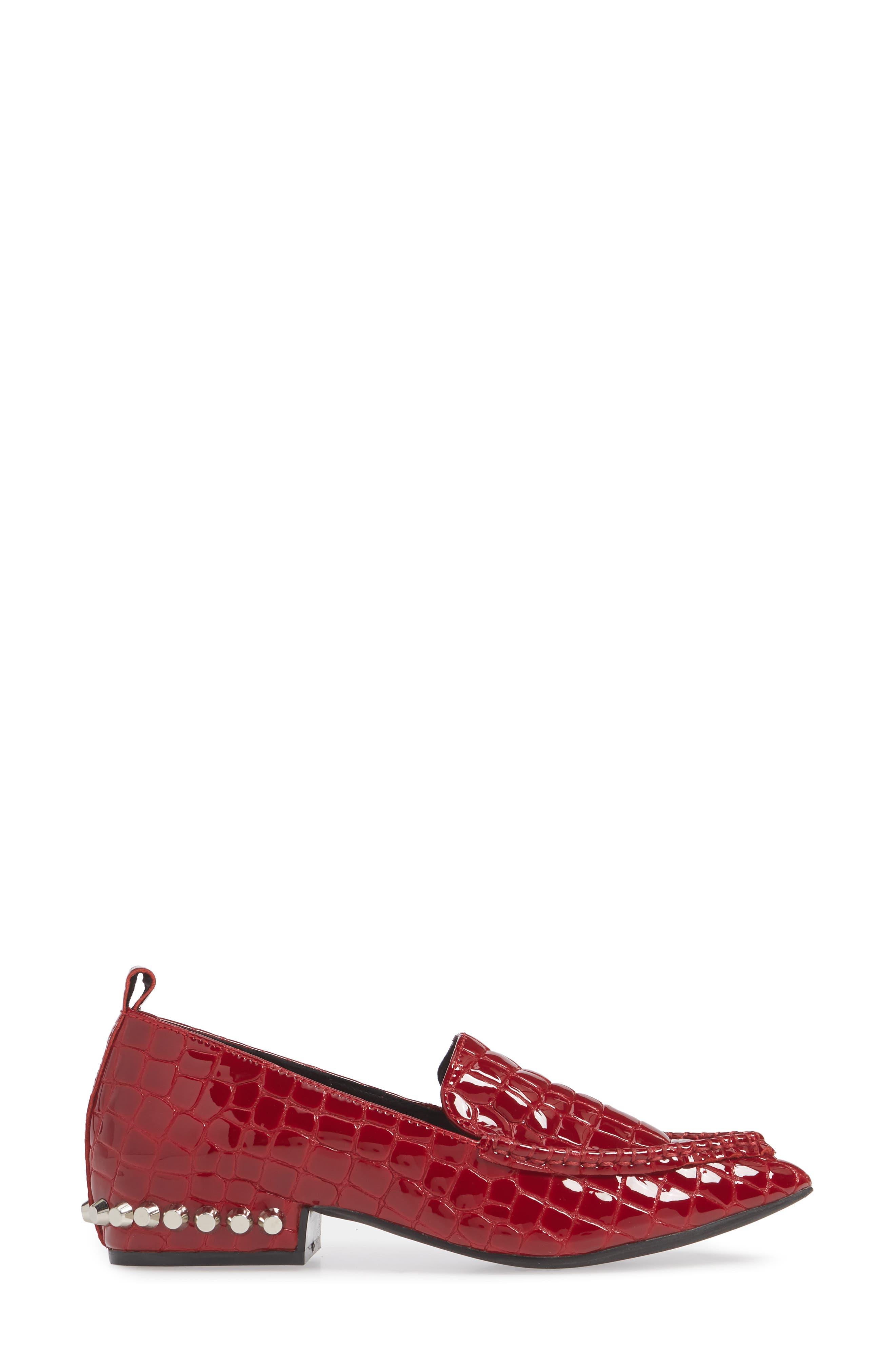 JEFFREY CAMPBELL, Barnett Studded Loafer, Alternate thumbnail 3, color, RED CROCODILE PRINT LEATHER
