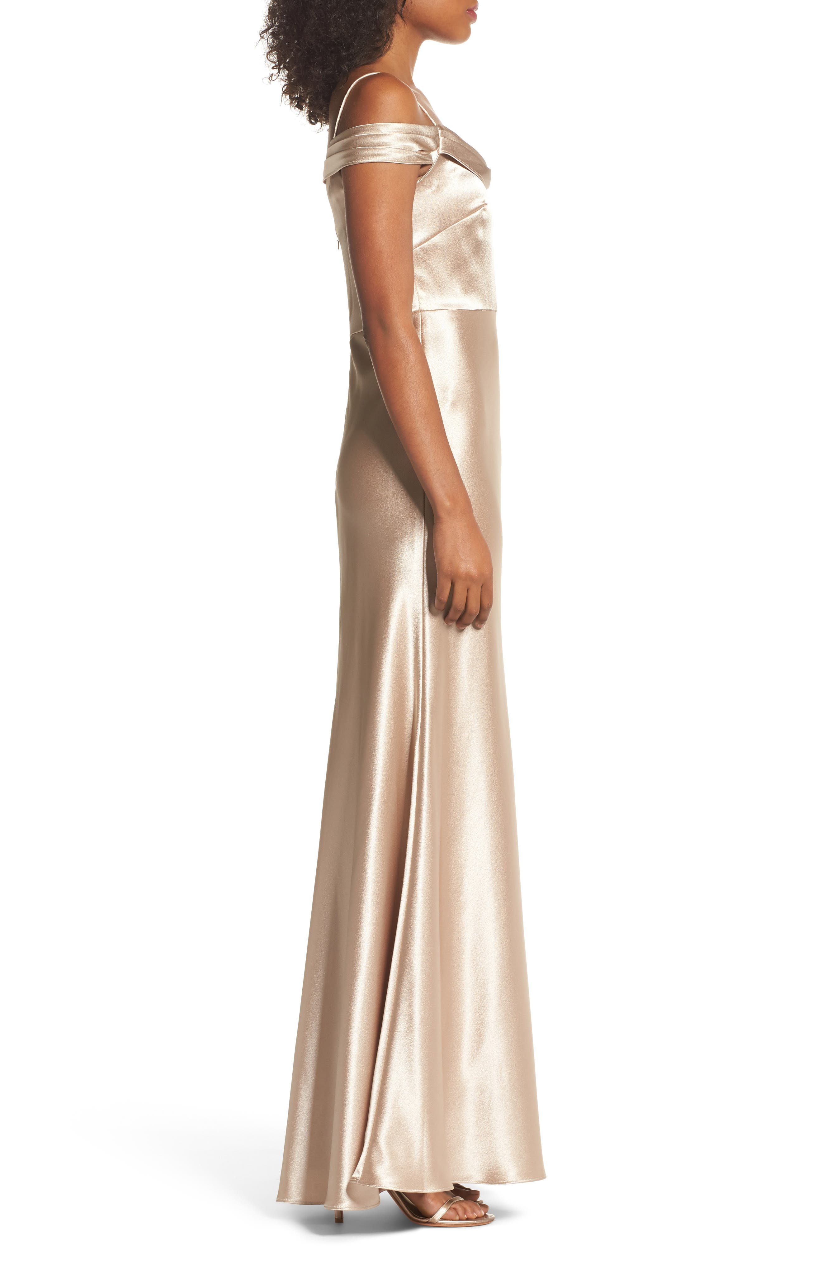 JENNY YOO, Serene Satin Off the Shoulder Gown, Alternate thumbnail 3, color, LATTE