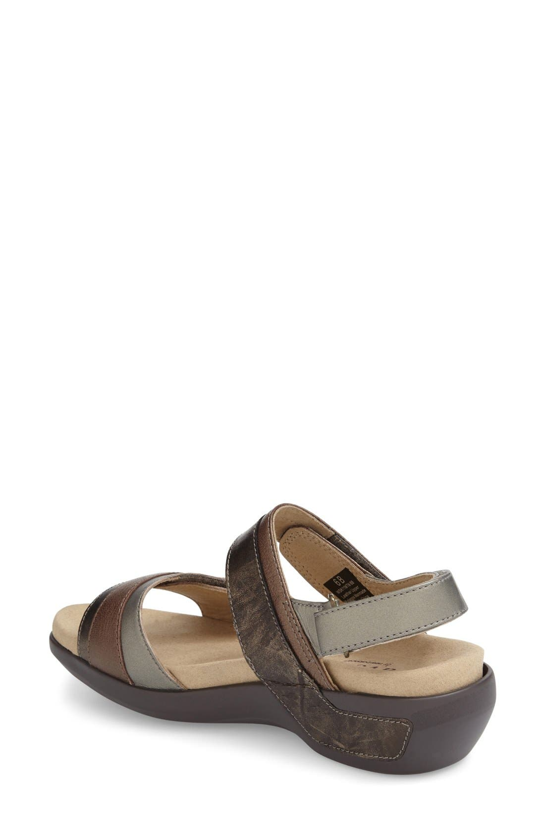 ARAVON, 'Katherine' Sandal, Alternate thumbnail 2, color, GREY LEATHER
