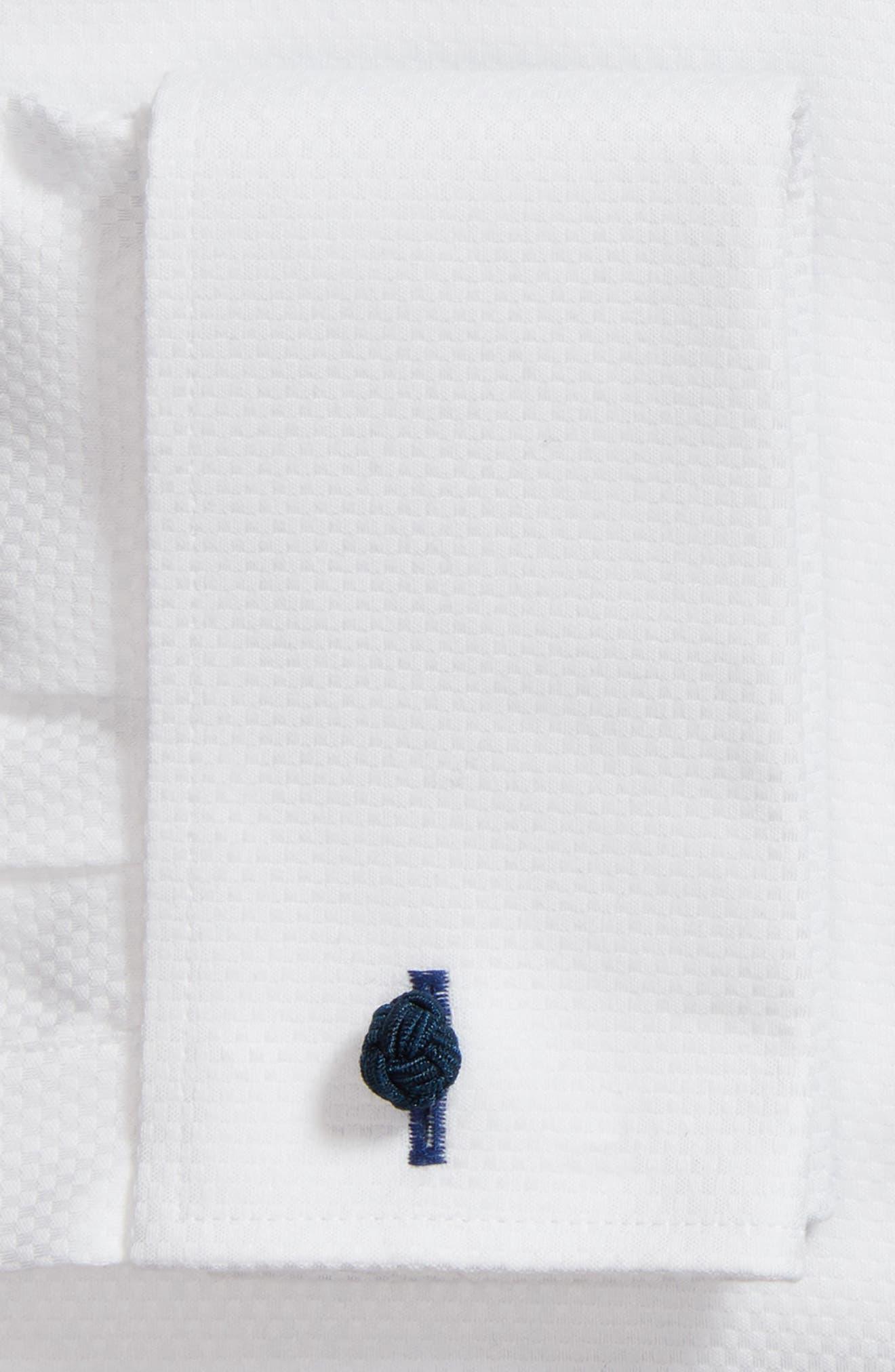 LORENZO UOMO, Trim Fit Basket Weave Dress Shirt, Alternate thumbnail 6, color, WHITE
