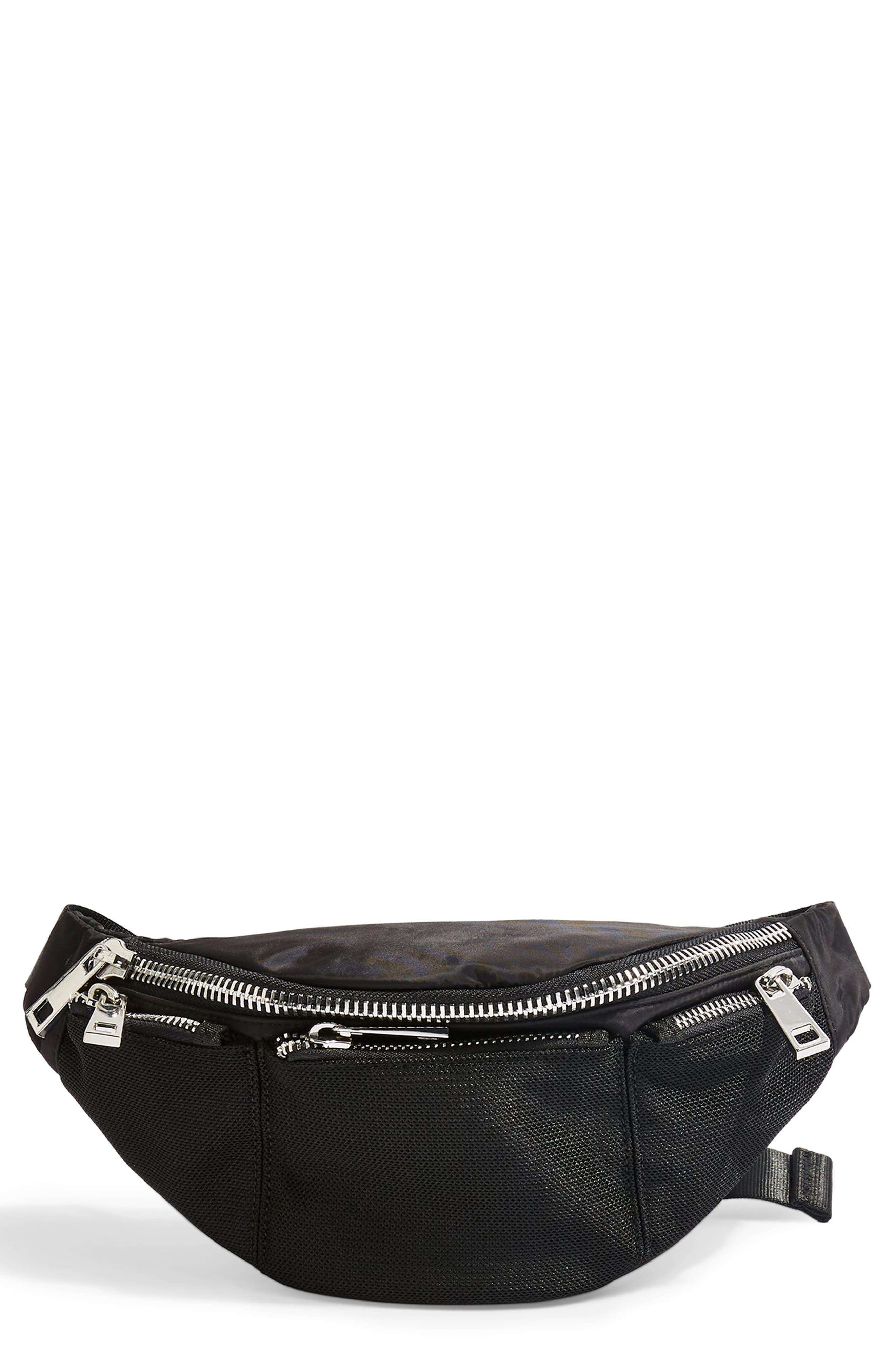 TOPSHOP Warsaw Nylon Belt Bag, Main, color, BLACK
