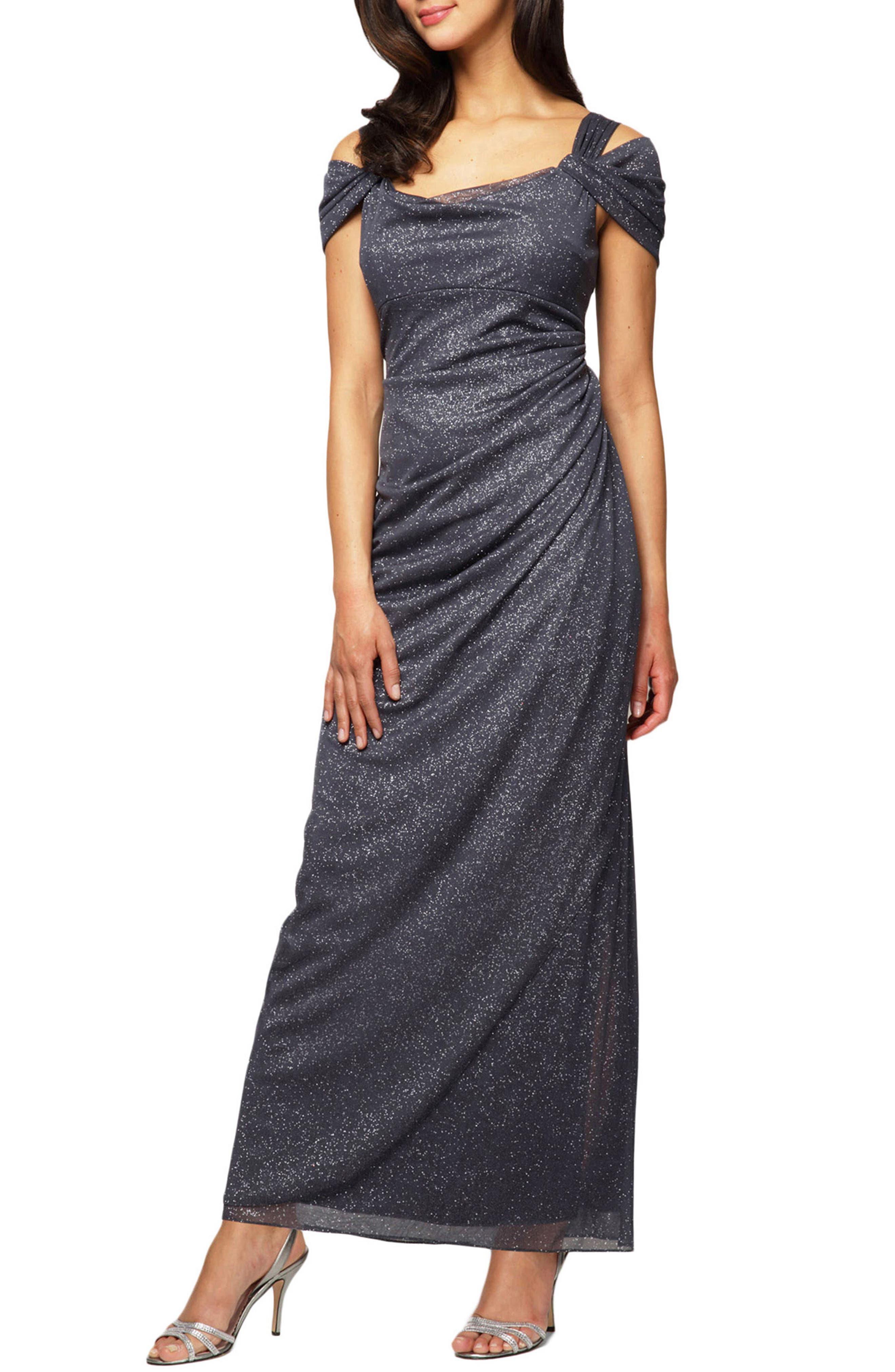 Petite Alex Evenings Cold Shoulder Chiffon Gown, Grey