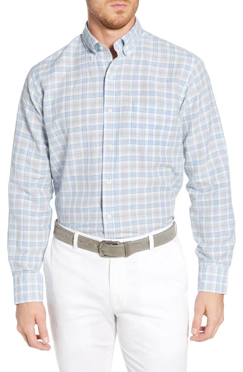 Peter Millar T-shirts SEASIDE REGULAR FIT PLAID LINEN BLEND SPORT SHIRT