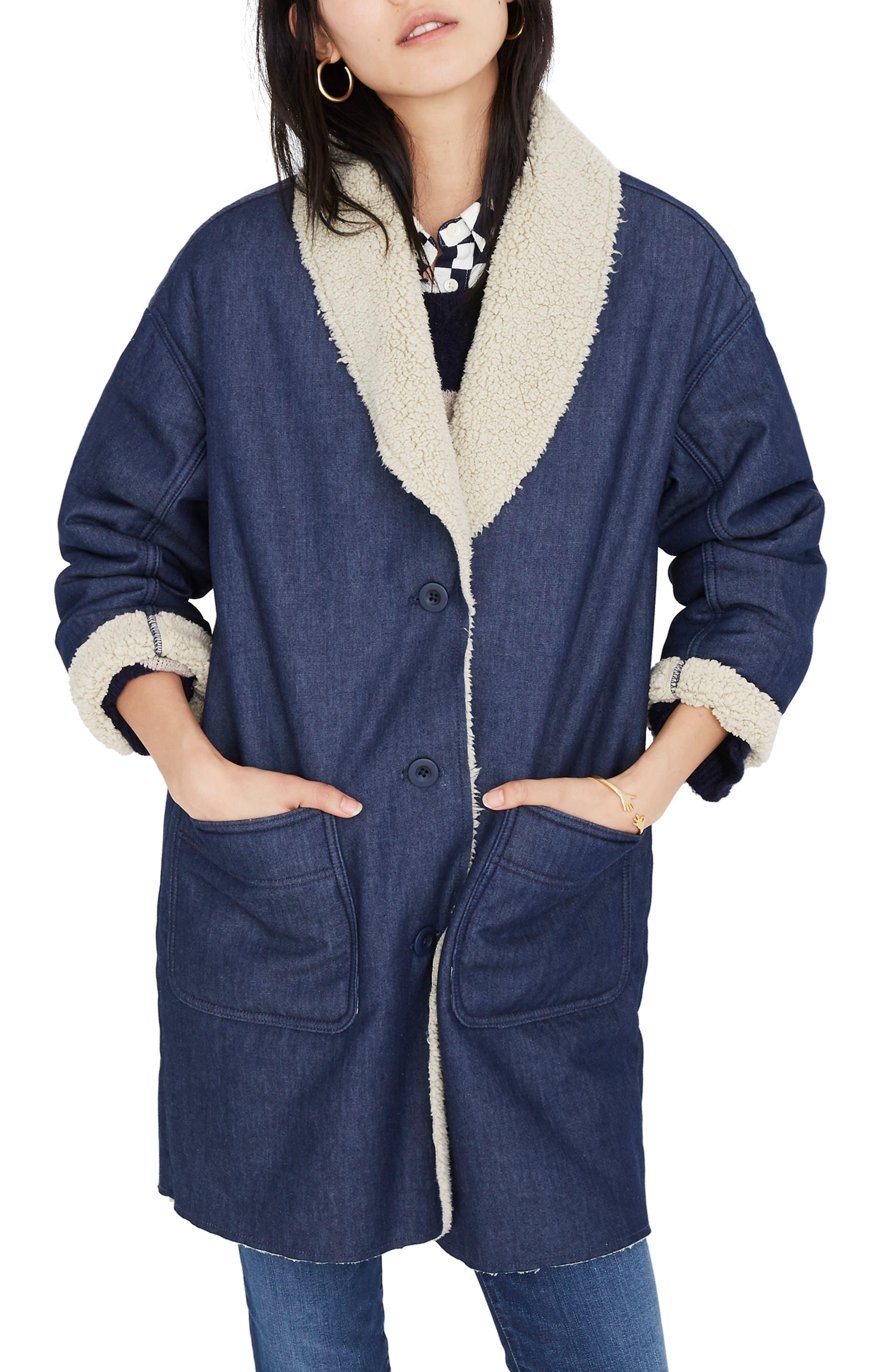 MADEWELL, Fleece Trim Denim Cocoon Coat, Main thumbnail 1, color, BRUNSWICK WASH