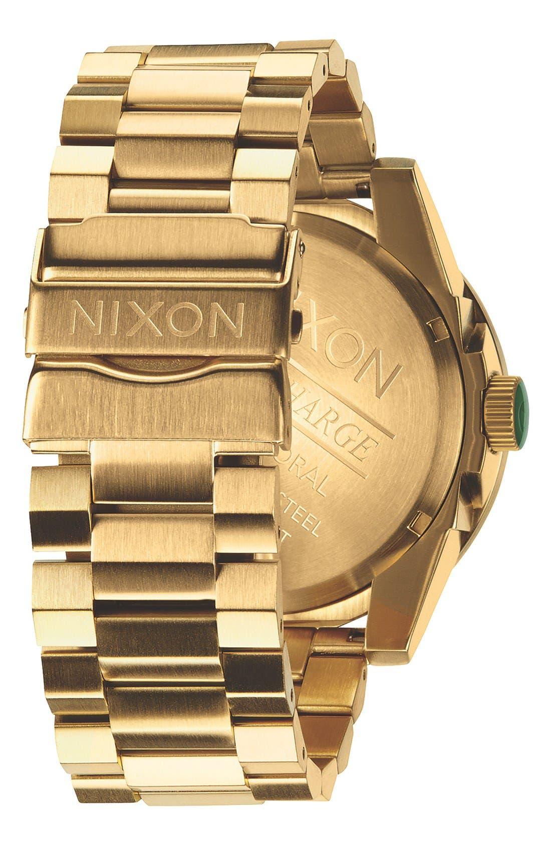 NIXON, The Corporal Bracelet Watch, 48mm, Alternate thumbnail 2, color, GOLD/ GREEN