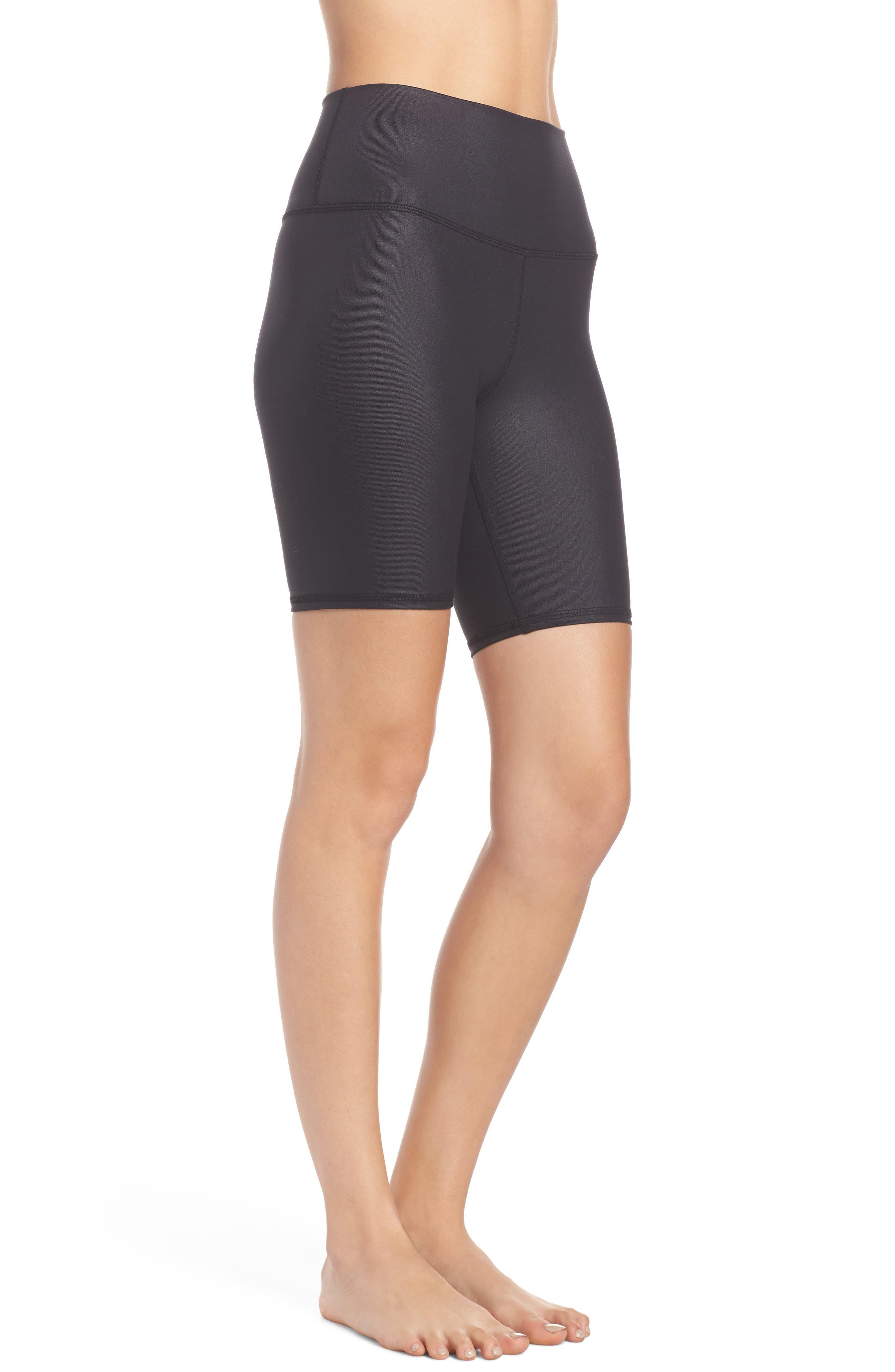 ALO, High Waist Biker Shorts, Alternate thumbnail 4, color, BLACK GLOSSY