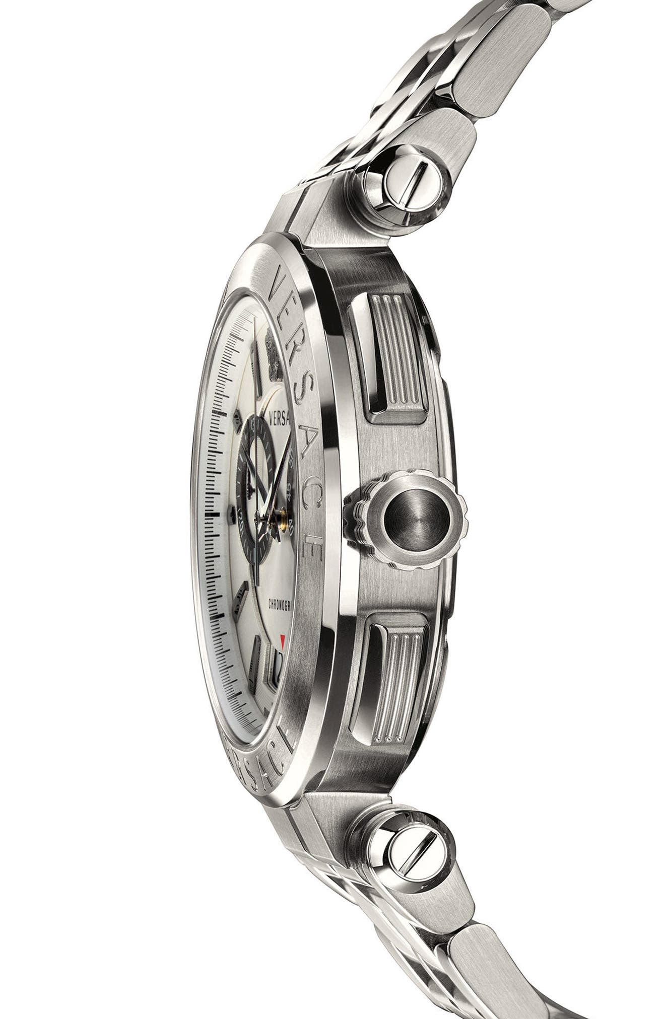 VERSACE, Aion Chronograph Bracelet Watch, 45mm, Alternate thumbnail 3, color, SILVER