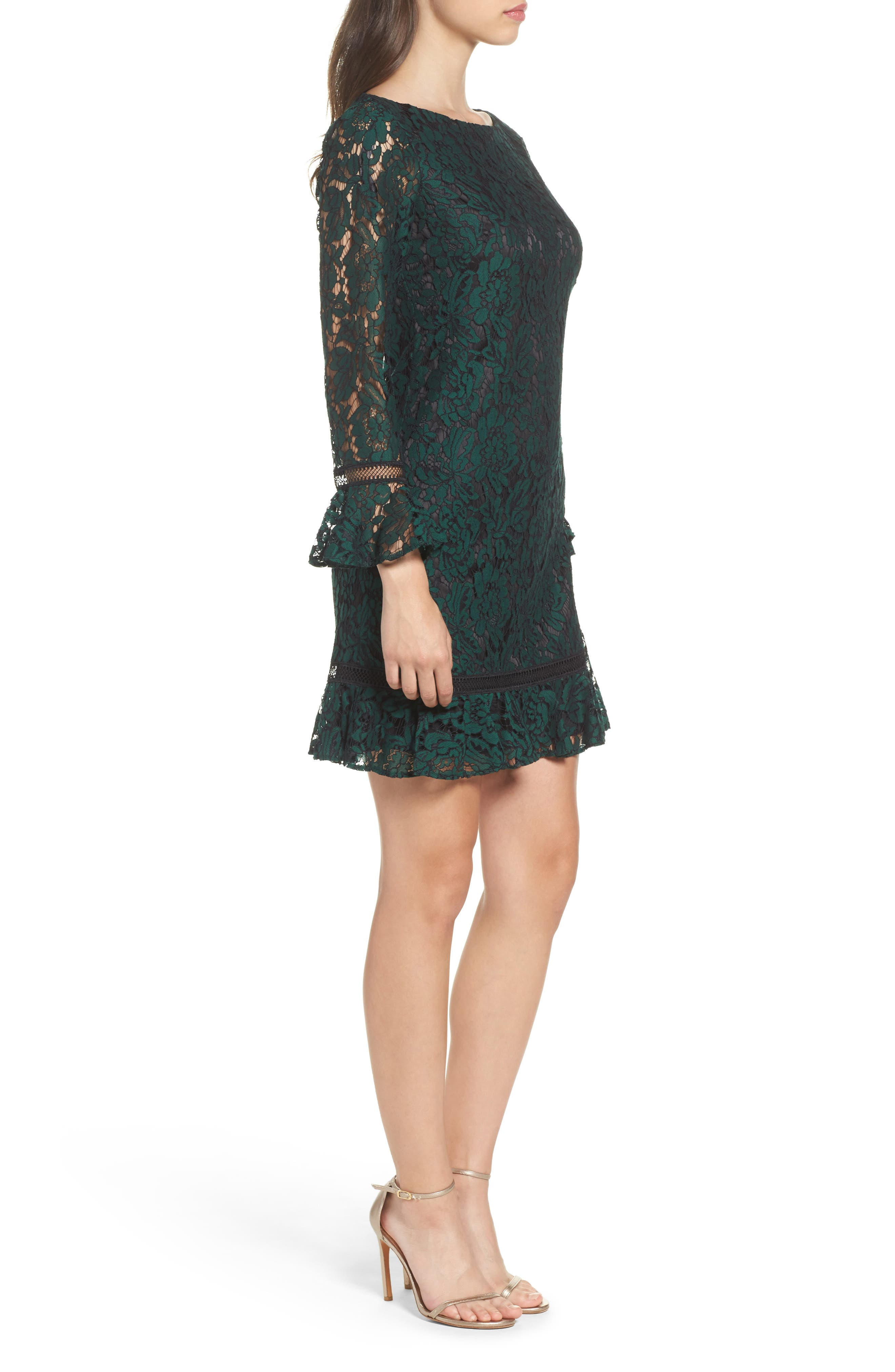 ELIZA J, Bell Sleeve Lace Shift Dress, Alternate thumbnail 4, color, HUNTER