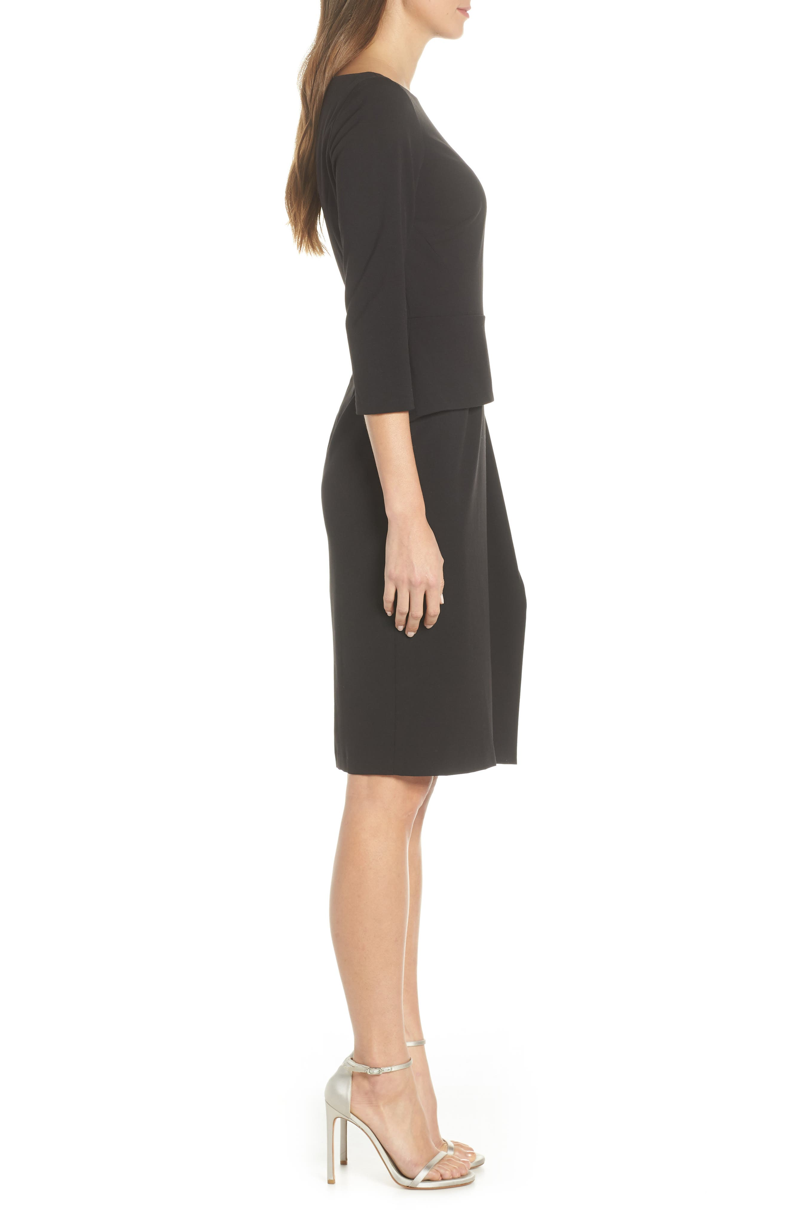 VINCE CAMUTO, Angled Ruffle Sheath Dress, Alternate thumbnail 4, color, BLACK