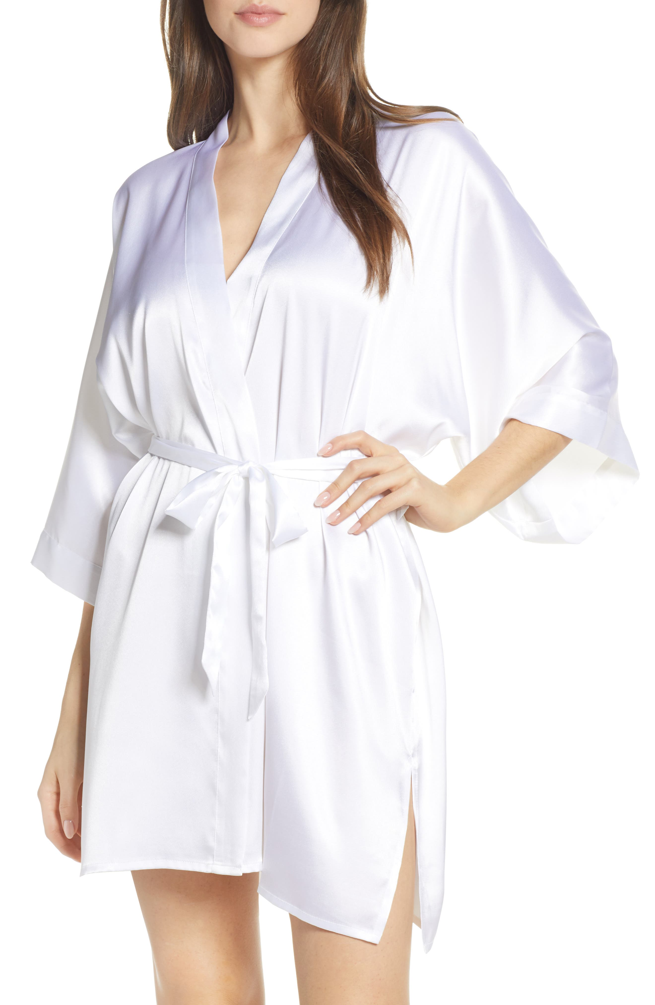 SAMANTHA CHANG Kimono Robe, Main, color, WHITE