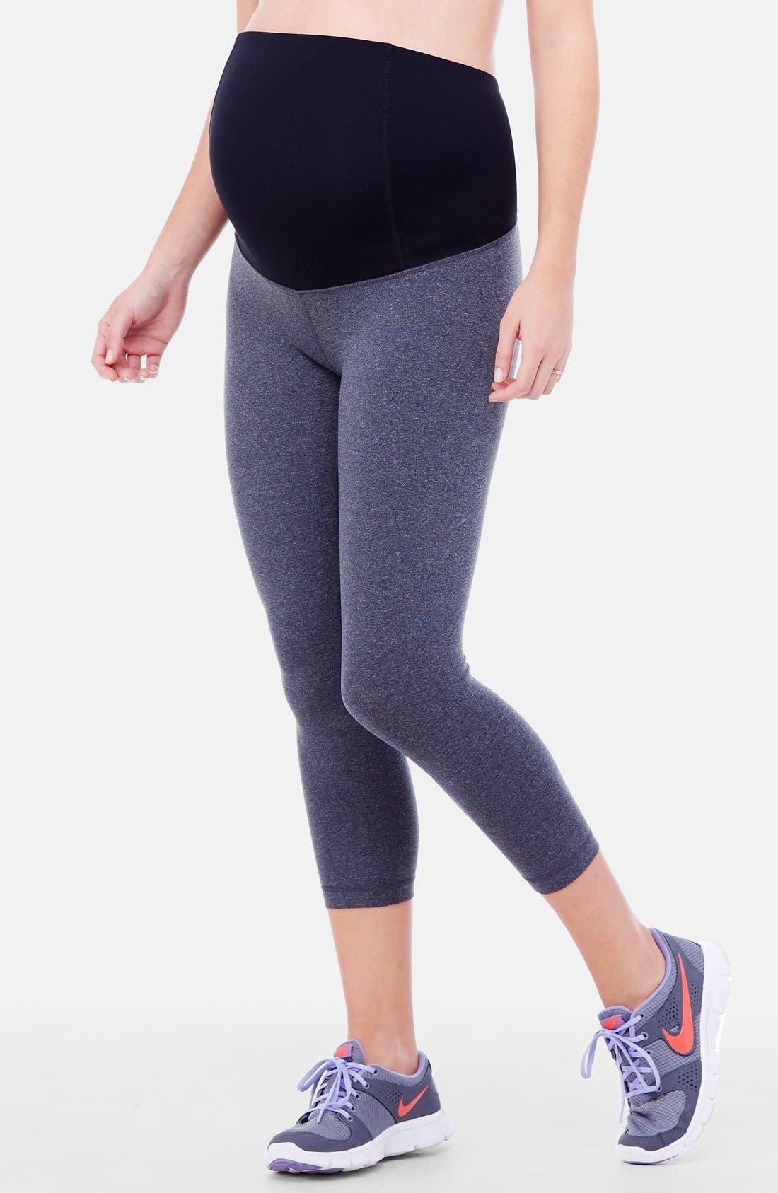 INGRID & ISABEL<SUP>®</SUP>, Active Maternity Capri Pants with Crossover Panel, Alternate thumbnail 3, color, DARK HEATHER GREY
