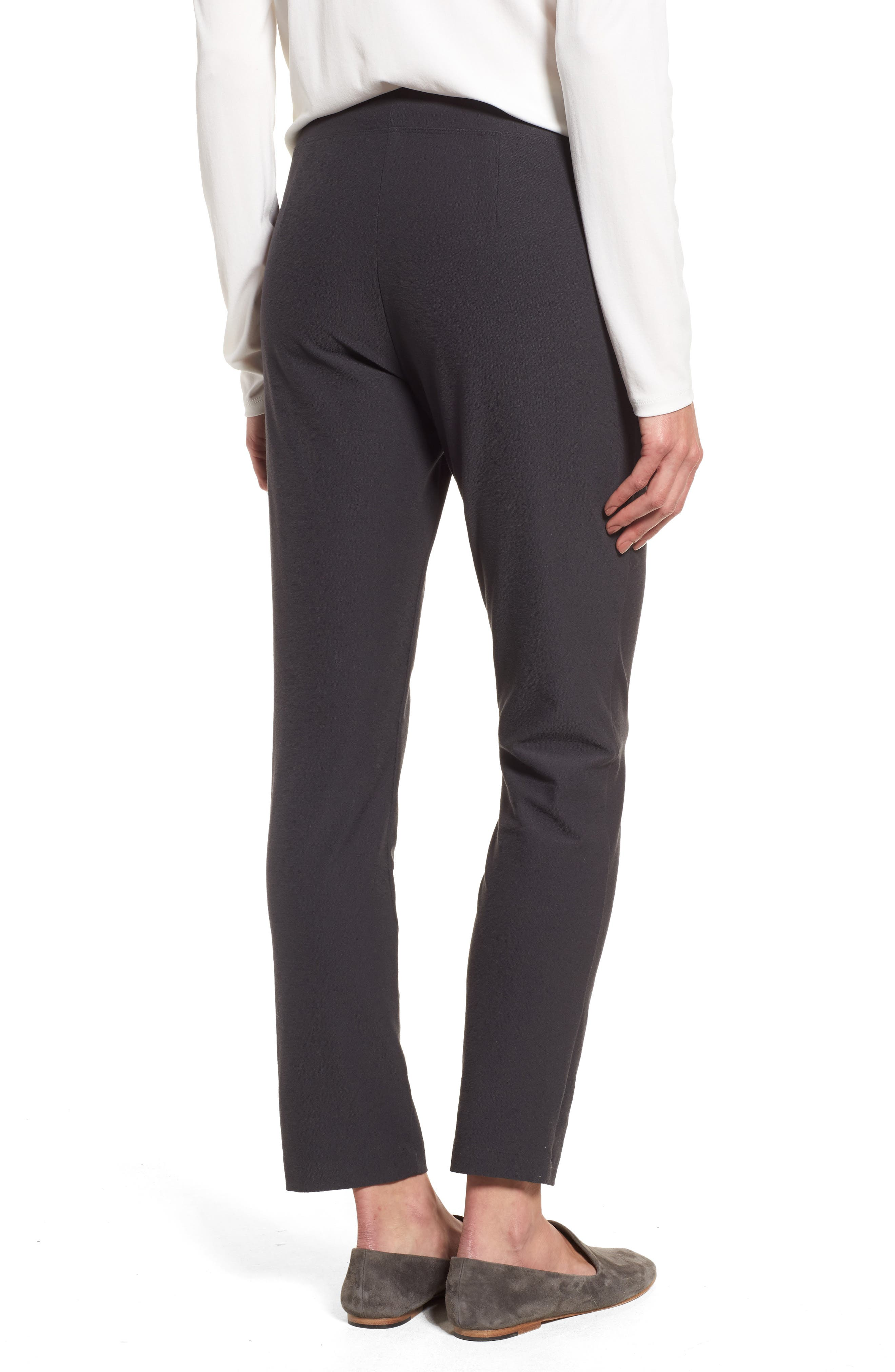 EILEEN FISHER, Stretch Crepe Ankle Pants, Alternate thumbnail 2, color, GRAPHITE