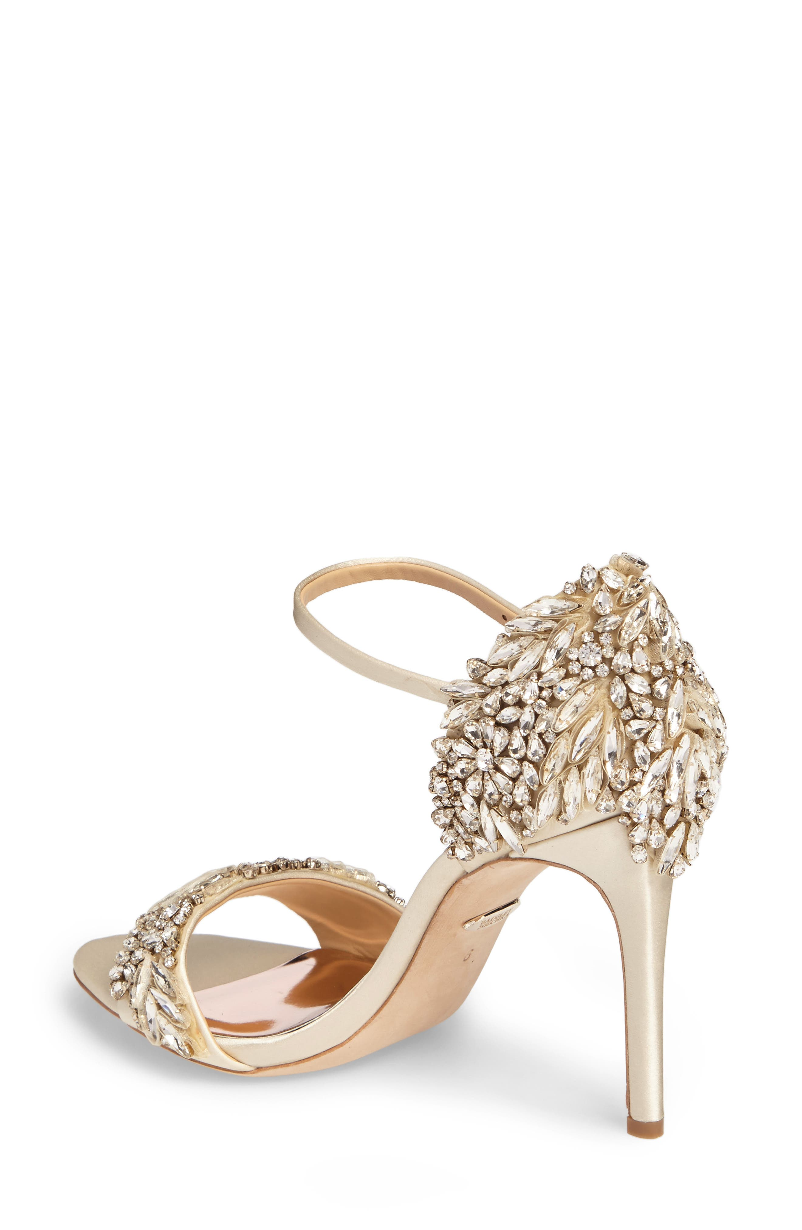 BADGLEY MISCHKA COLLECTION, Badgley Mischka Tampa Ankle Strap Sandal, Alternate thumbnail 2, color, IVORY SATIN