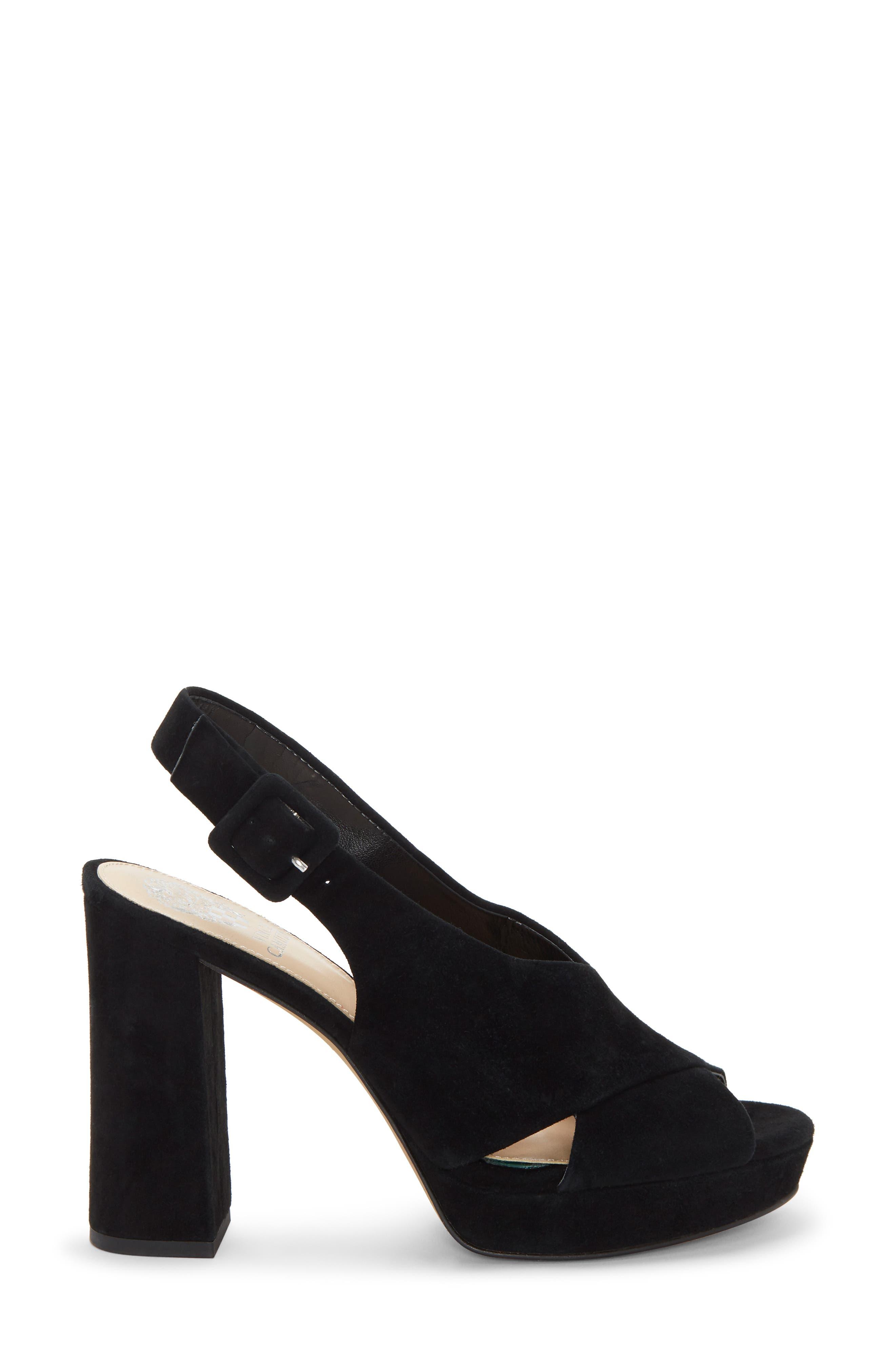 VINCE CAMUTO, Slingback Platform Sandal, Alternate thumbnail 3, color, BLACK 01 SUEDE