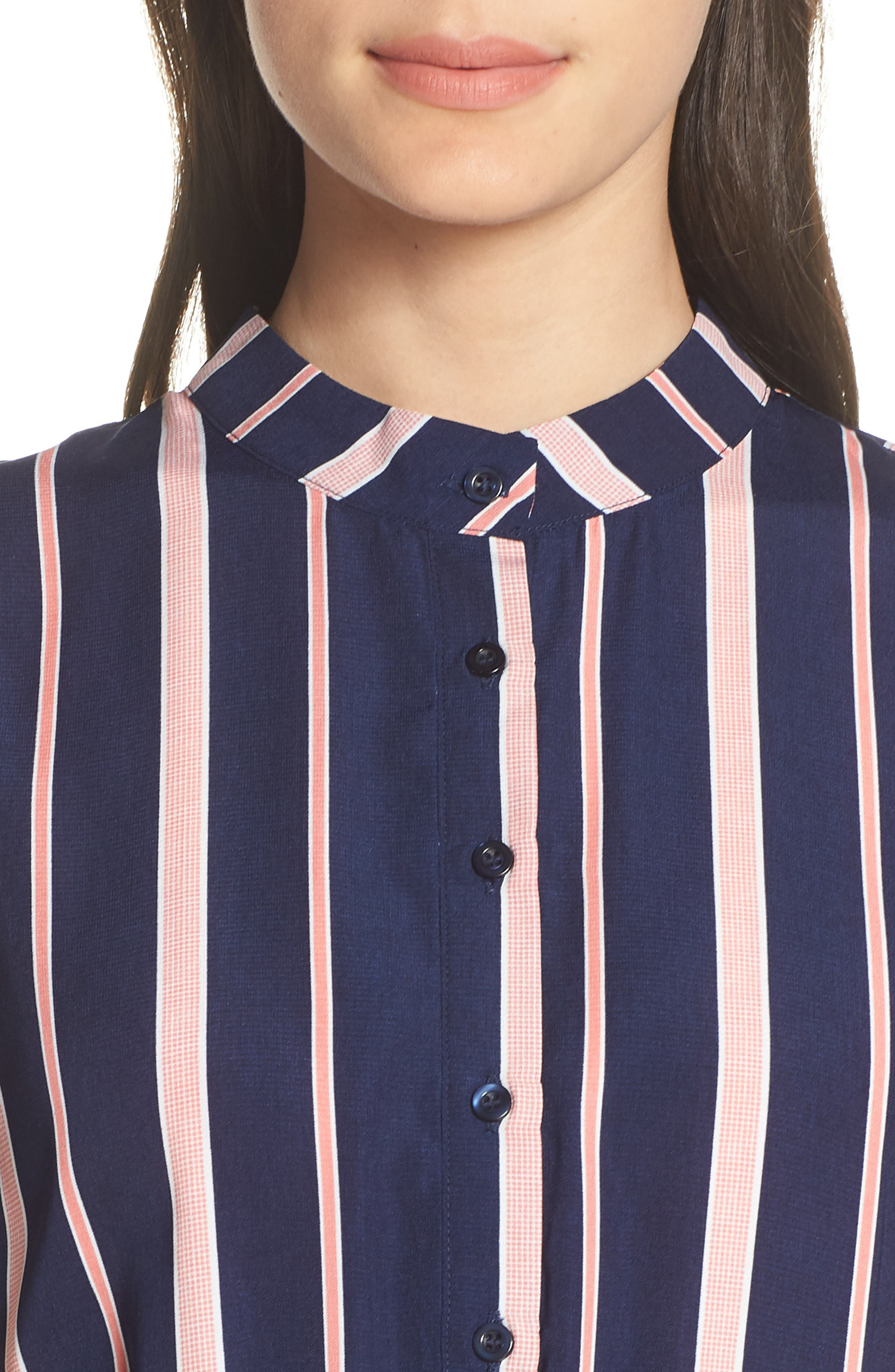 CHARLES HENRY, Smocked Stripe Dress, Alternate thumbnail 5, color, NAVY/ PINK STRIPE