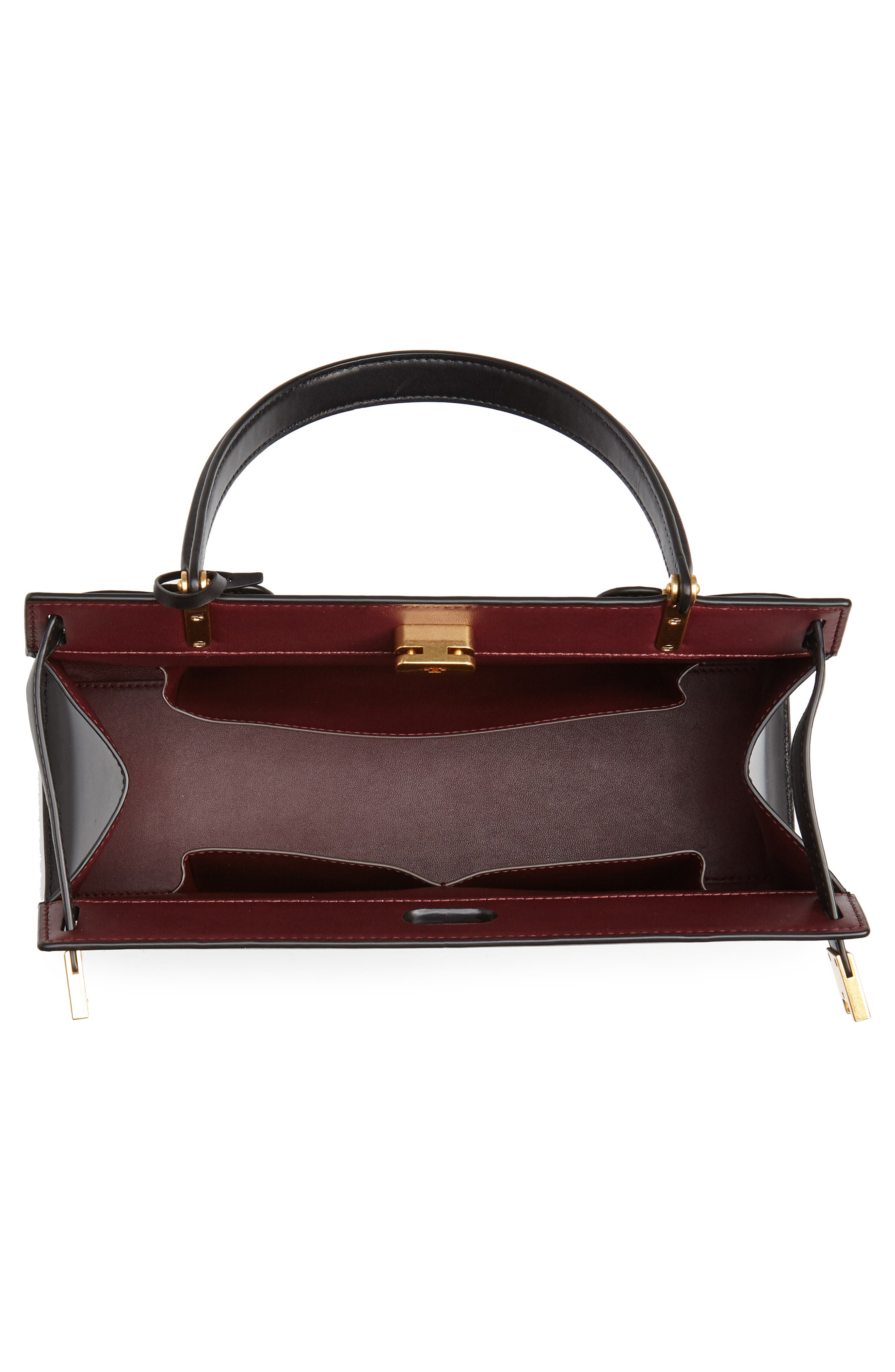 TORY BURCH, Lee Radziwill Leather Bag, Alternate thumbnail 4, color, 001