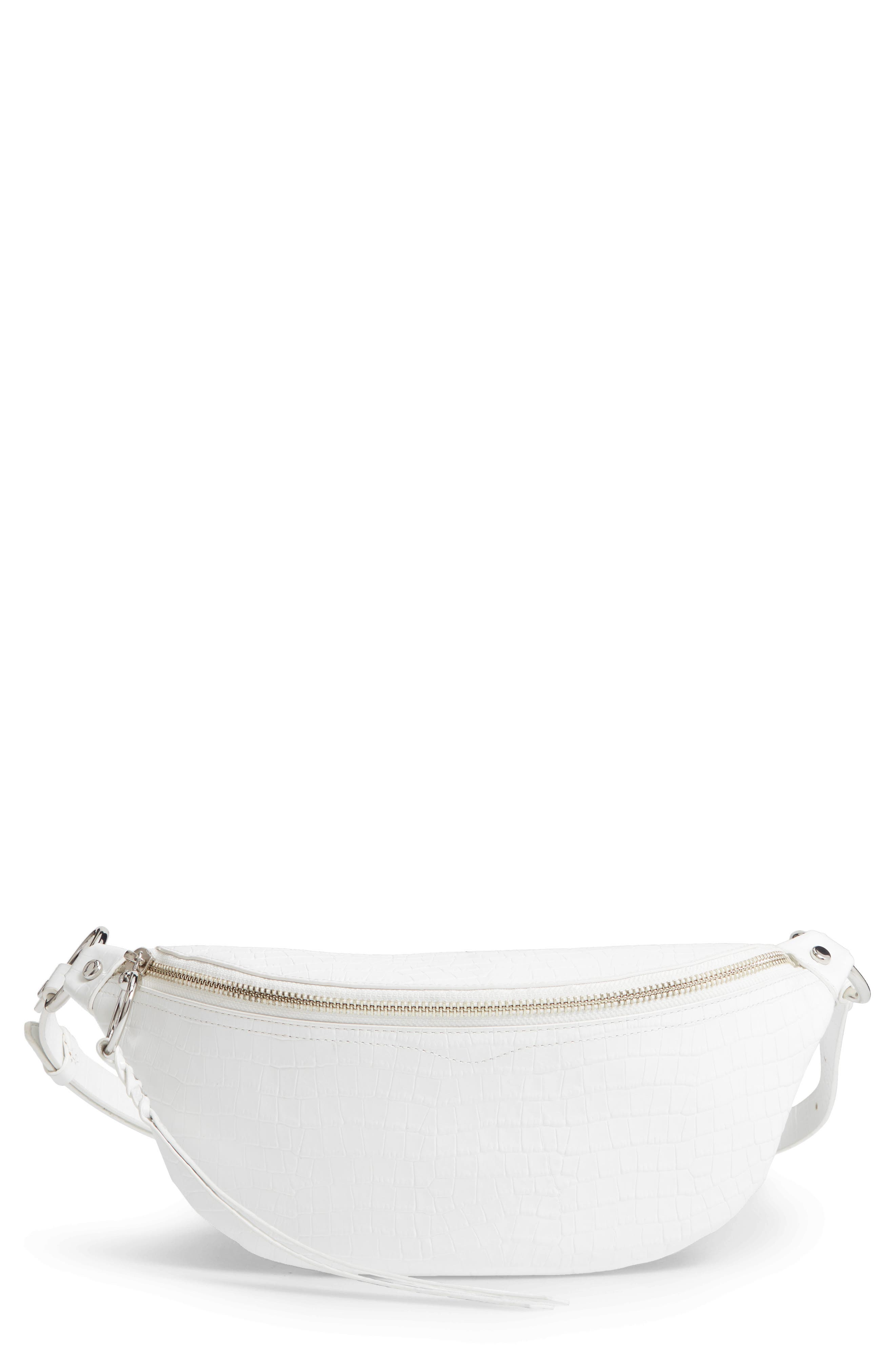 REBECCA MINKOFF, Bree Croc Embossed Leather Belt Bag, Main thumbnail 1, color, OPTIC WHITE