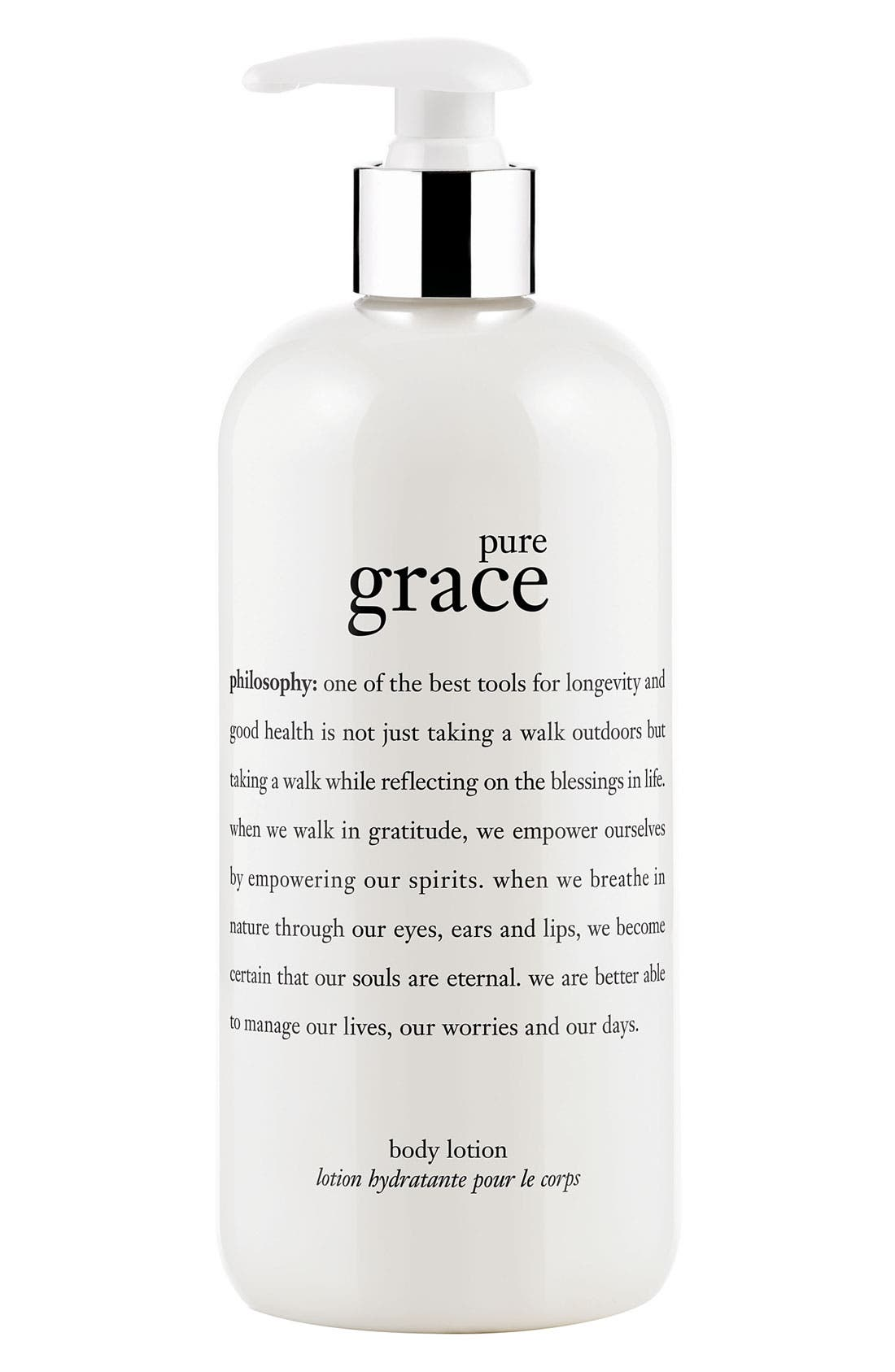 PHILOSOPHY, 'pure grace' perfumed body lotion, Main thumbnail 1, color, NO COLOR