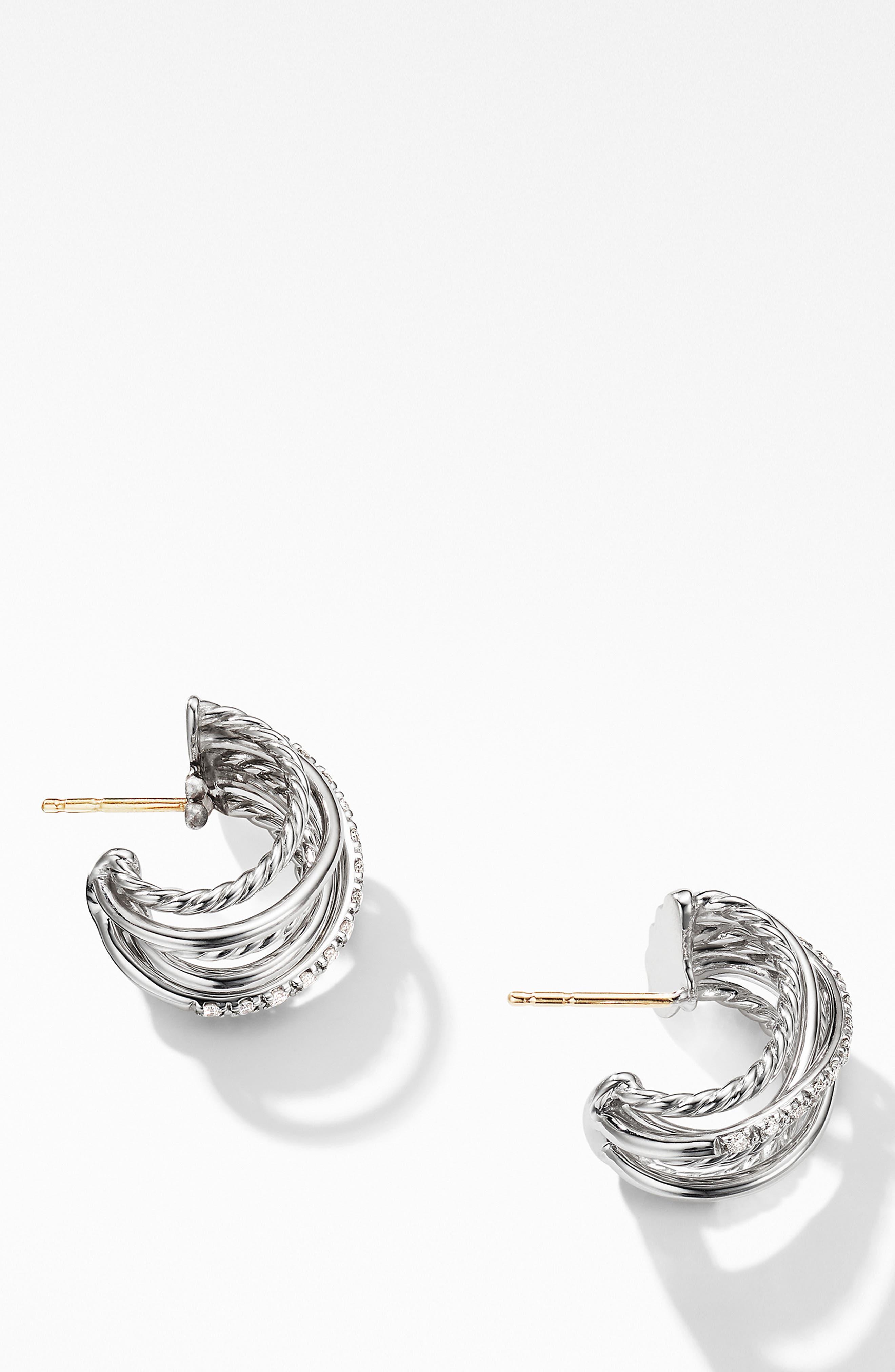 DAVID YURMAN, Crossover Huggie Hoop Earrings with Diamonds, Alternate thumbnail 2, color, SILVER/ DIAMOND