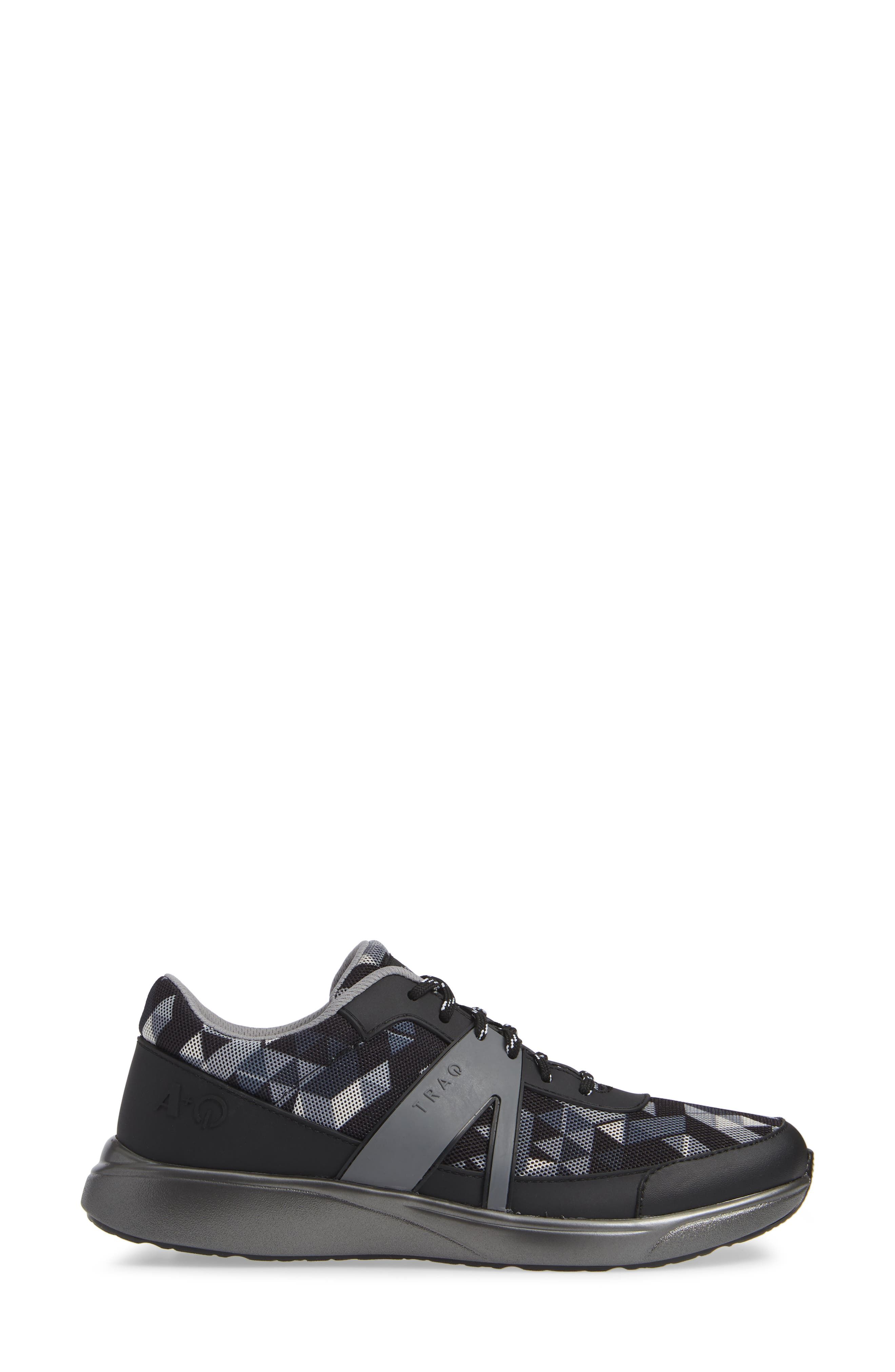ALEGRIA, Qarma Sneaker, Alternate thumbnail 3, color, BLACK ANGLE LEATHER