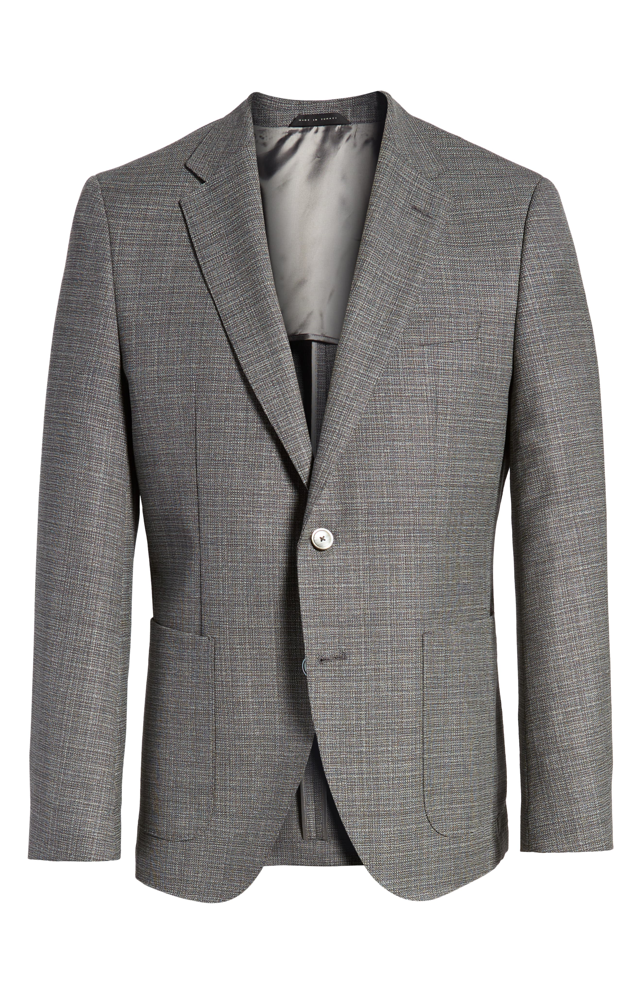 BOSS, Janson Classic Fit Wool Blazer, Alternate thumbnail 5, color, GREY
