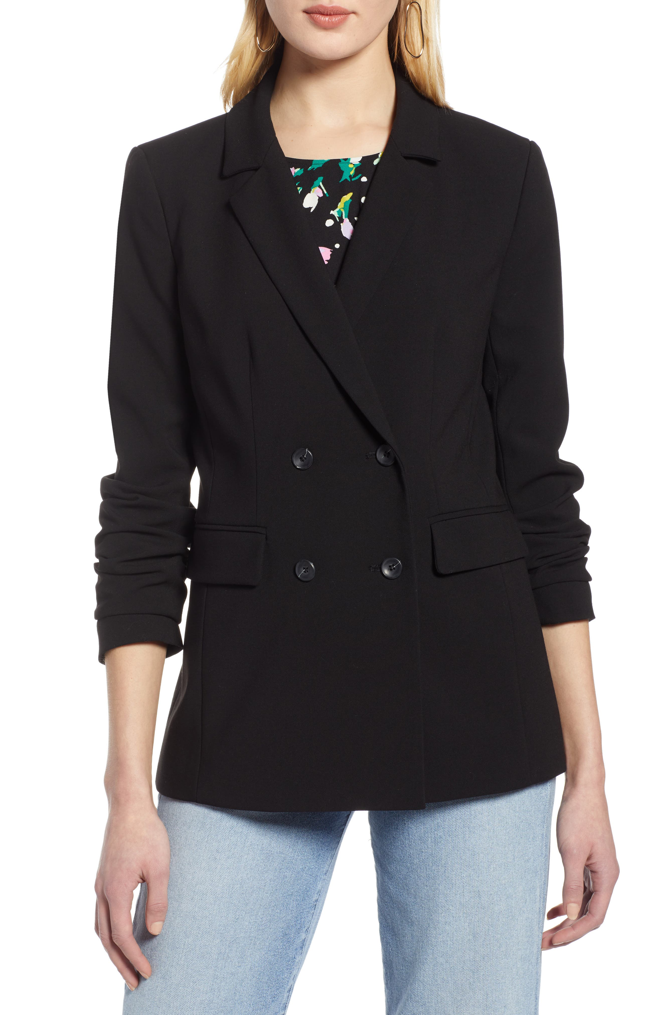 HALOGEN<SUP>®</SUP>, Double Breasted Blazer, Alternate thumbnail 5, color, BLACK