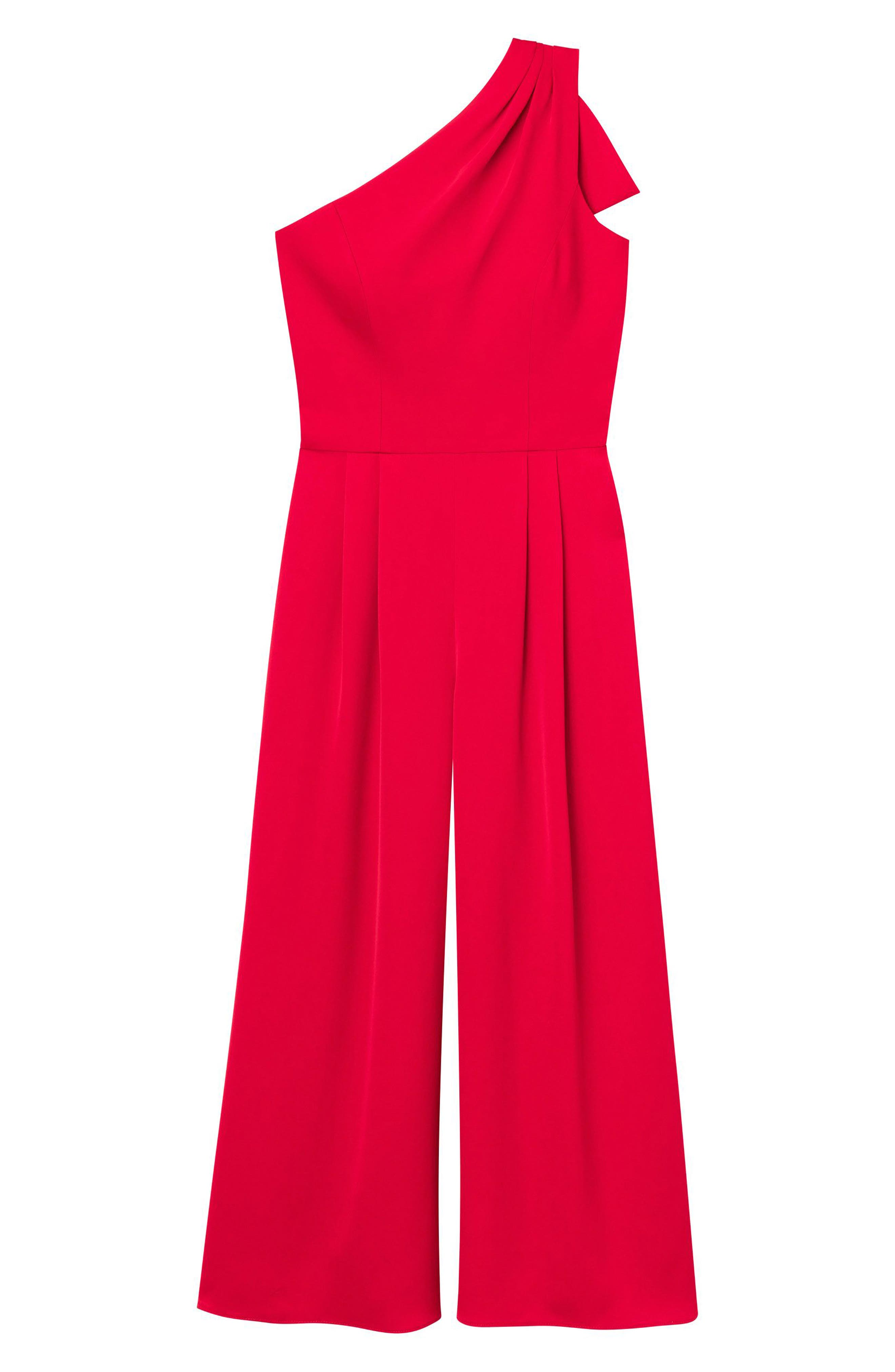 GAL MEETS GLAM COLLECTION, Carmen One-Shoulder Crepe Jumpsuit, Alternate thumbnail 4, color, 603
