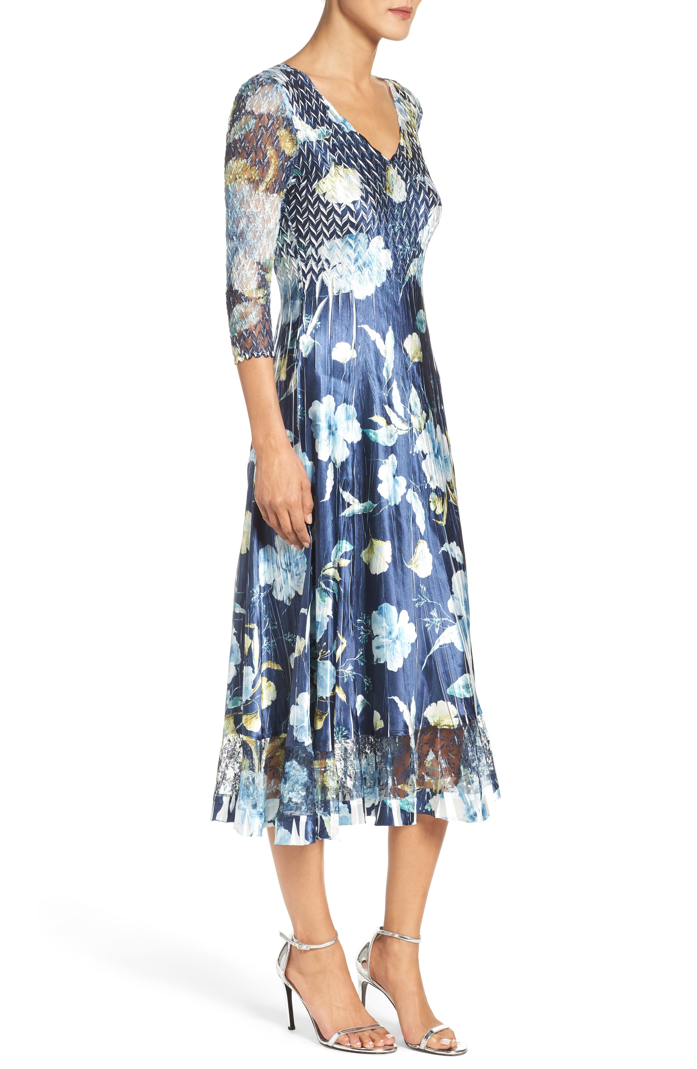 KOMAROV, A-Line Dress, Alternate thumbnail 3, color, SAPPHIRE