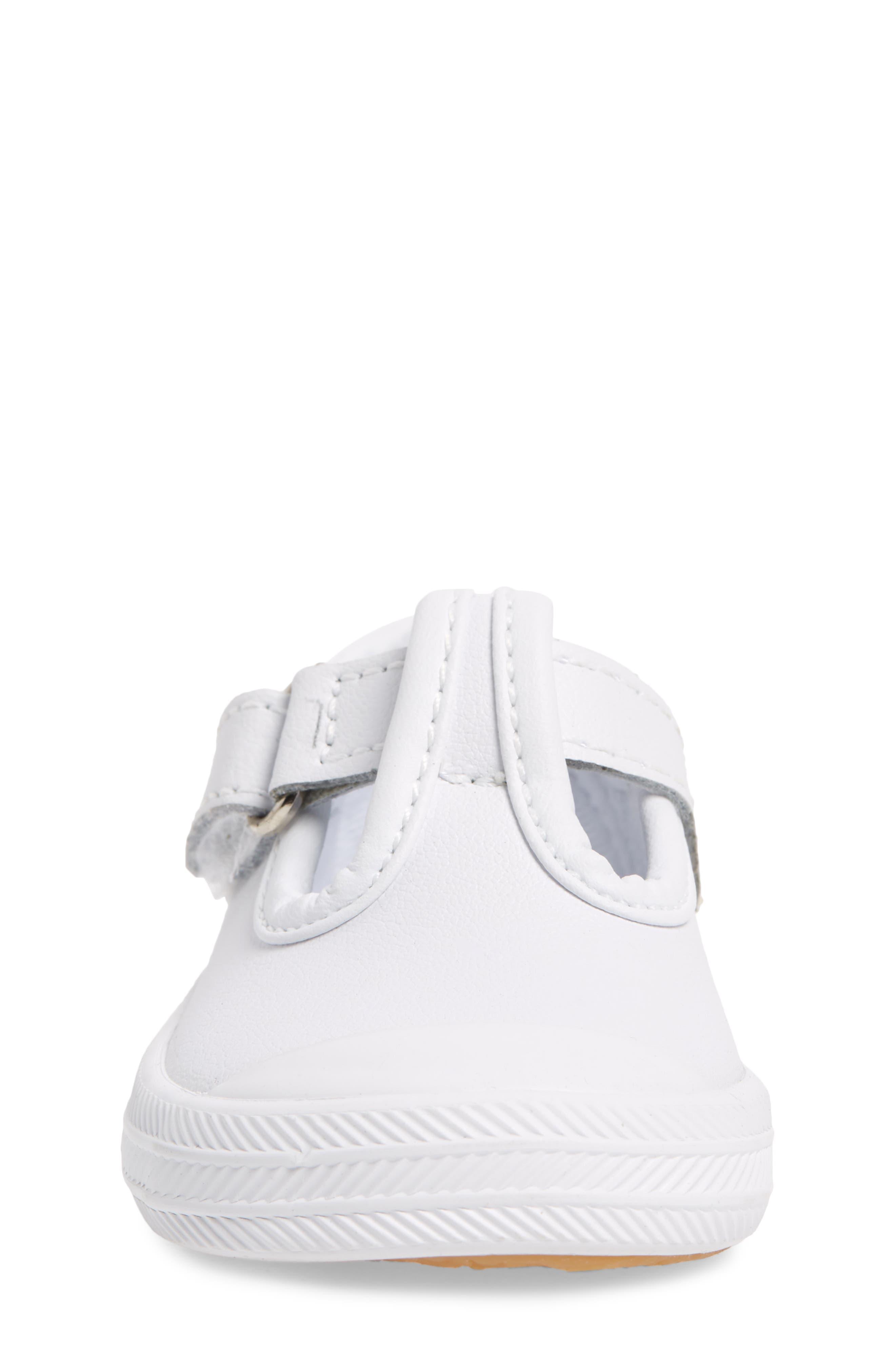 KEDS<SUP>®</SUP>, 'Champion' T-Strap Shoe, Alternate thumbnail 4, color, WHITE LEATHER