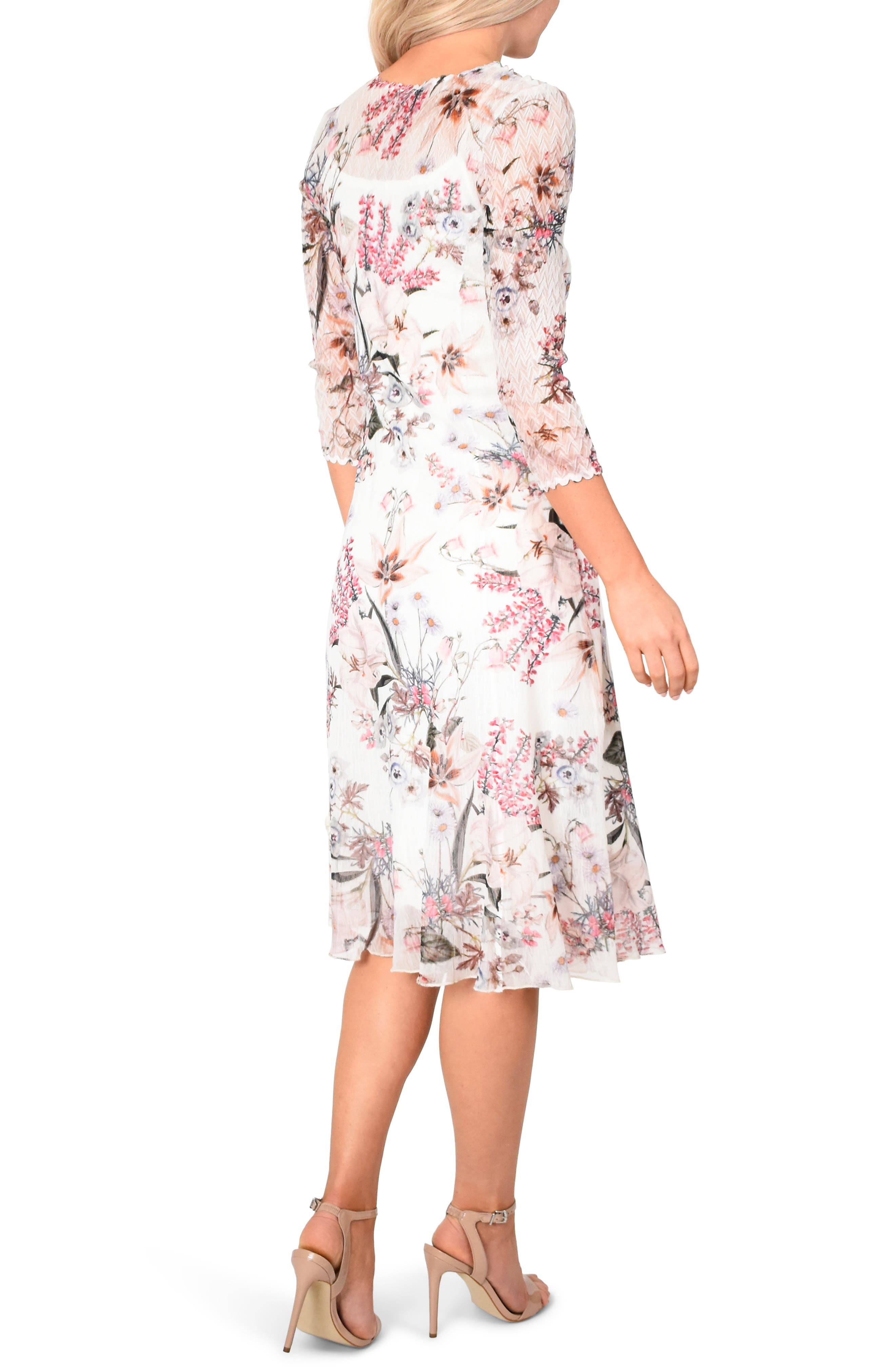 KOMAROV, Floral Chiffon MIdi Dress, Alternate thumbnail 2, color, SPRING ORCHARD